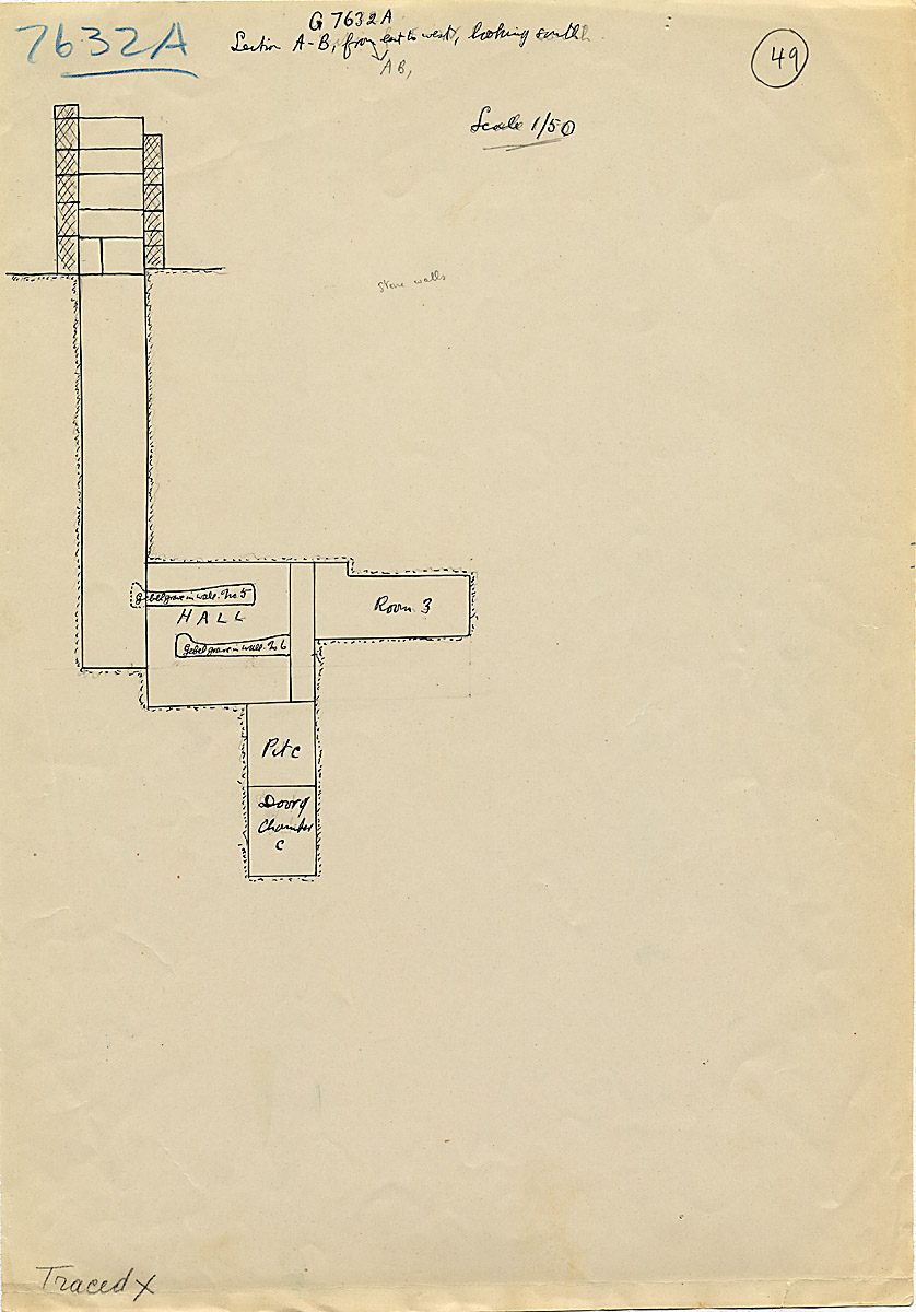 Maps and plans: G 7632, Shaft A, section south