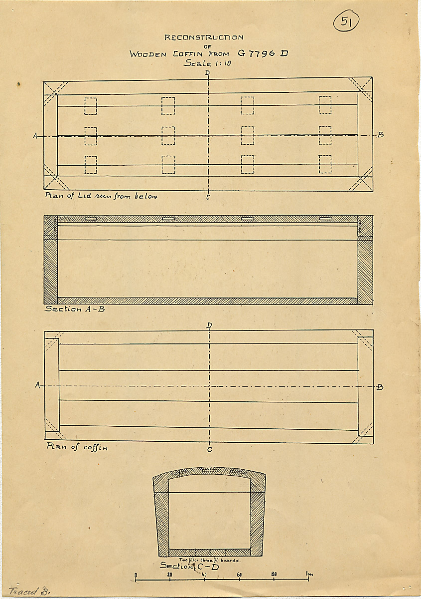 Maps and plans: G 7796, Shaft D, wood coffin