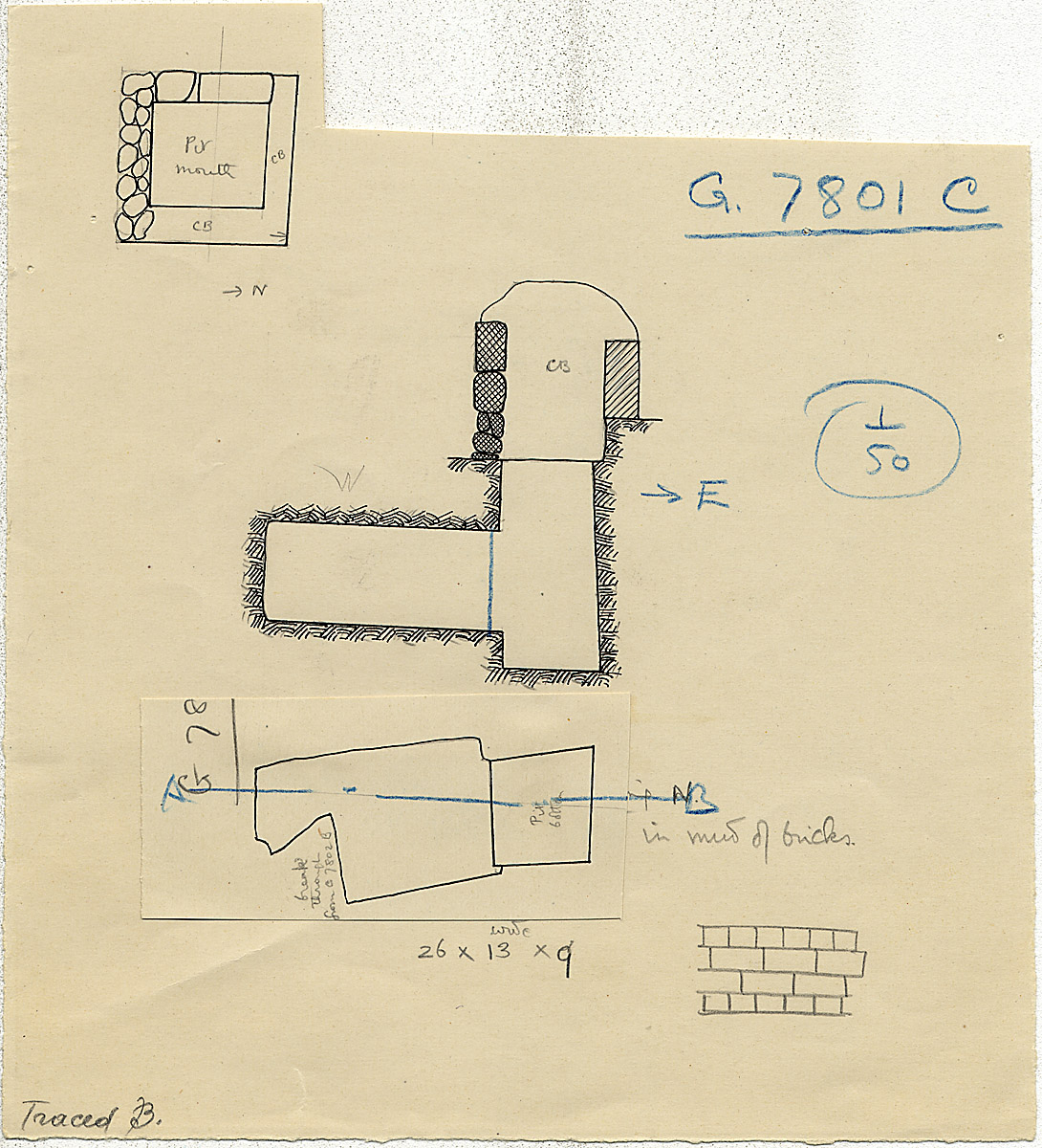 Maps and plans: G 7801, Shaft C