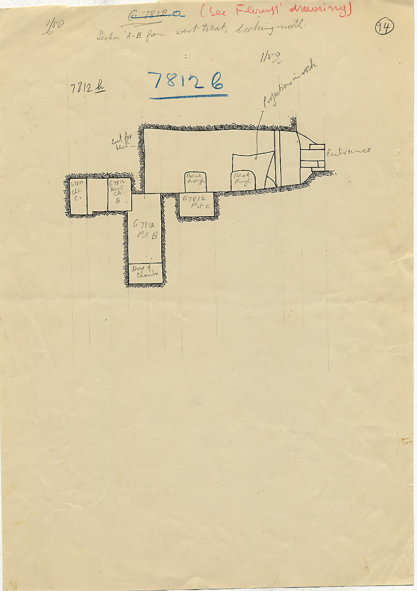 Maps and plans: G 7812b, Chapel b, with shafts B and C