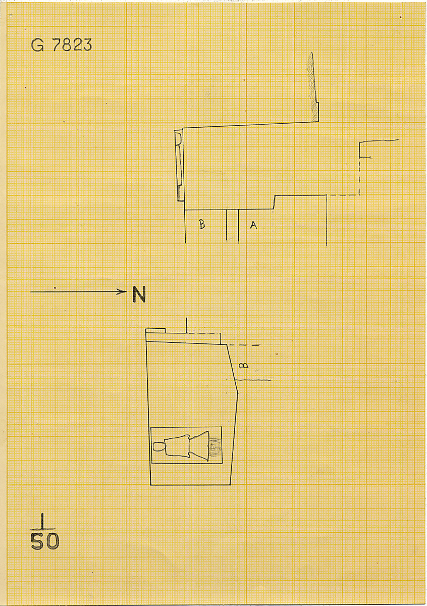 Maps and plans: G 7823, Chapel a, with shafts A and B