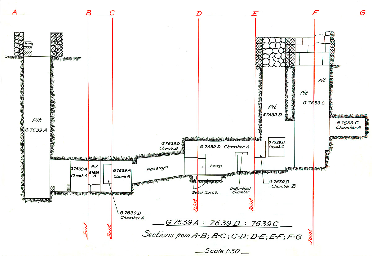Maps and plans: G 7639, Shaft A, C, D