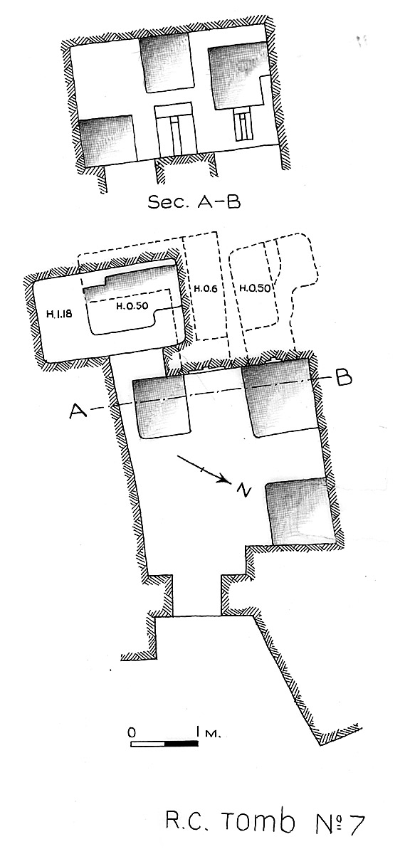 Maps and plans: Service tomb 7, Overall plan and section