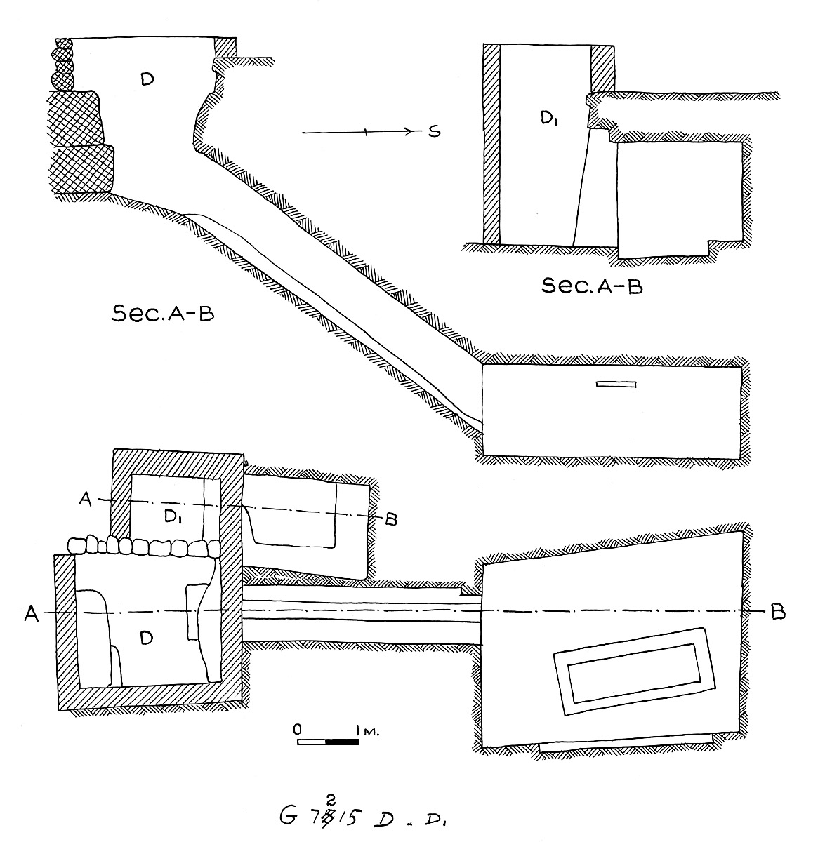 Maps and plans: G 7215, Shaft D and D1