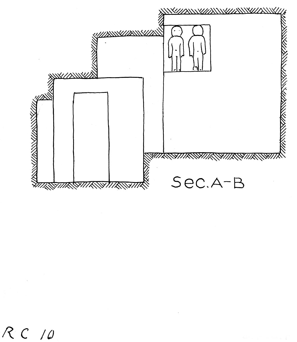 Maps and plans: Service tomb 10, Section with niche statues