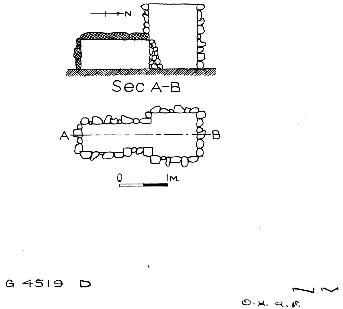 Maps and plans: G 4519, Shaft D