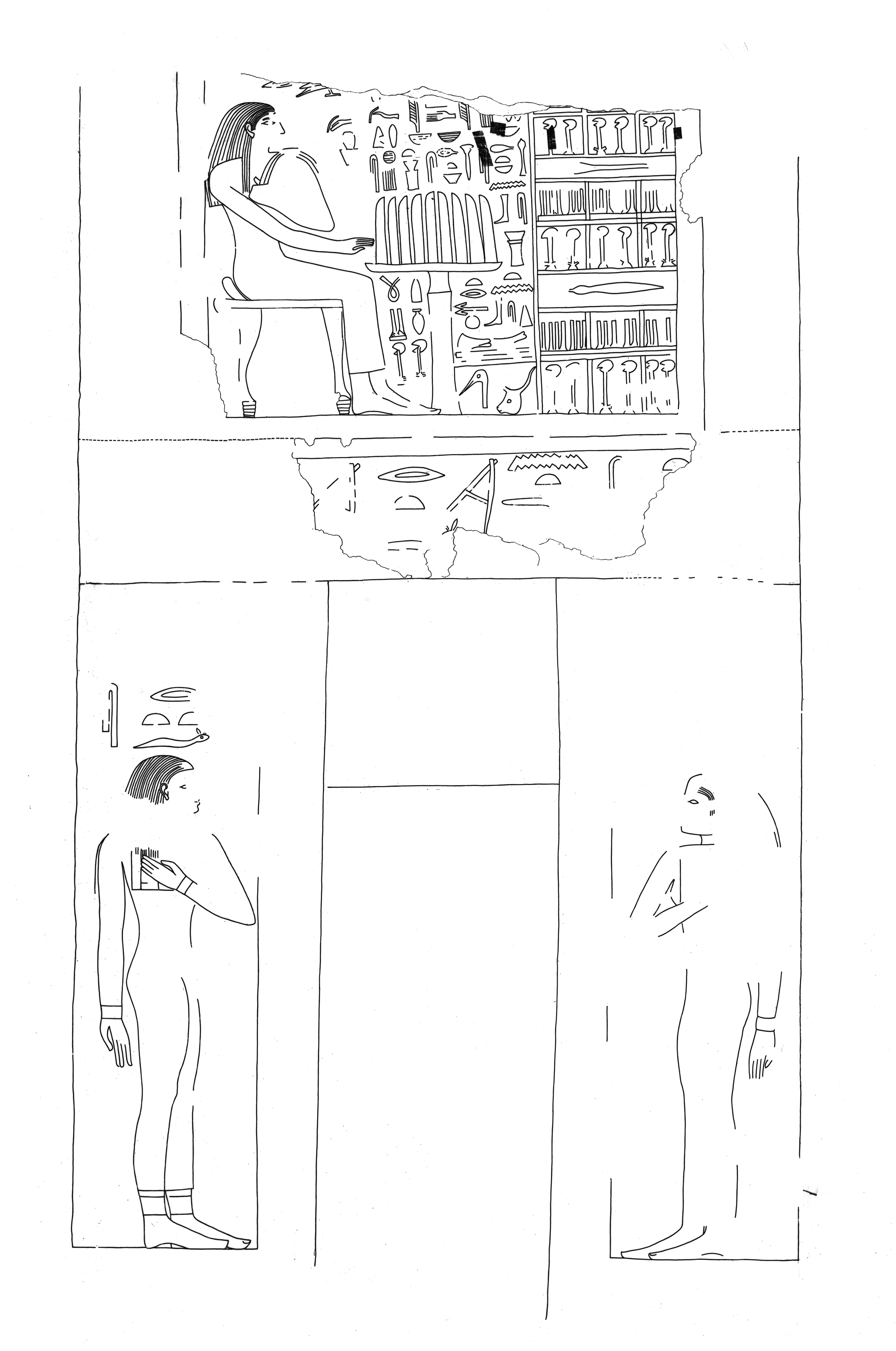 Drawings: G 7650: relief from false door, W wall