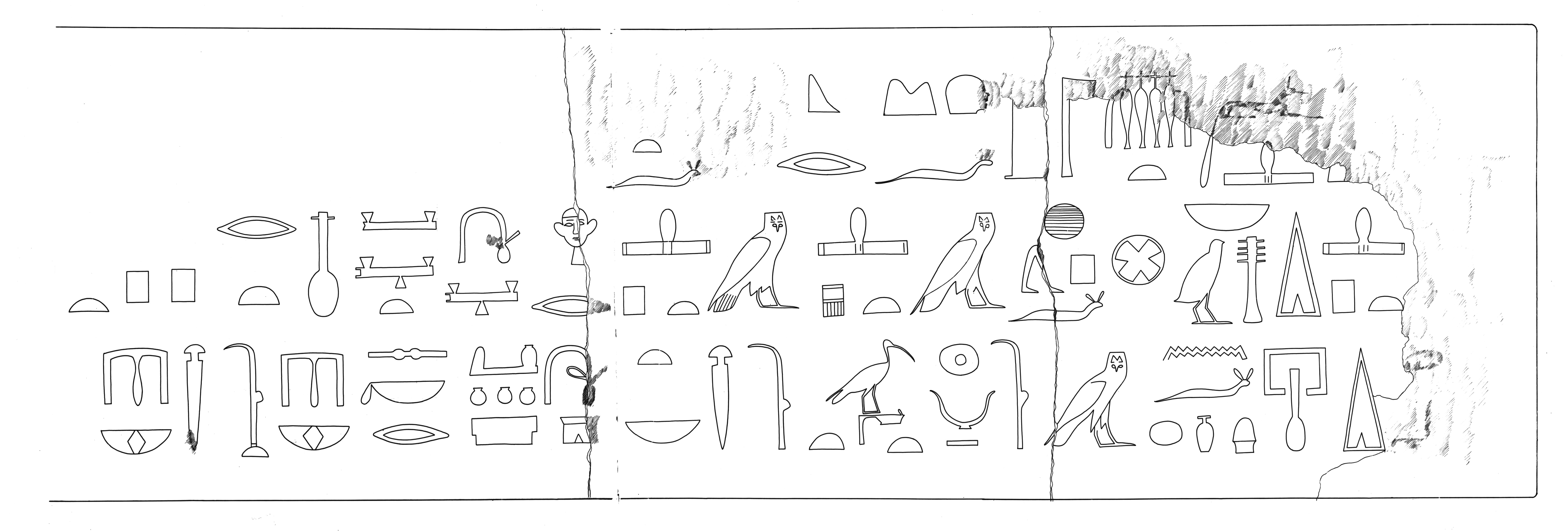 Drawings: G 5234 (?): relief from architrave from one of the small mastabas E of G 5230, unfinished