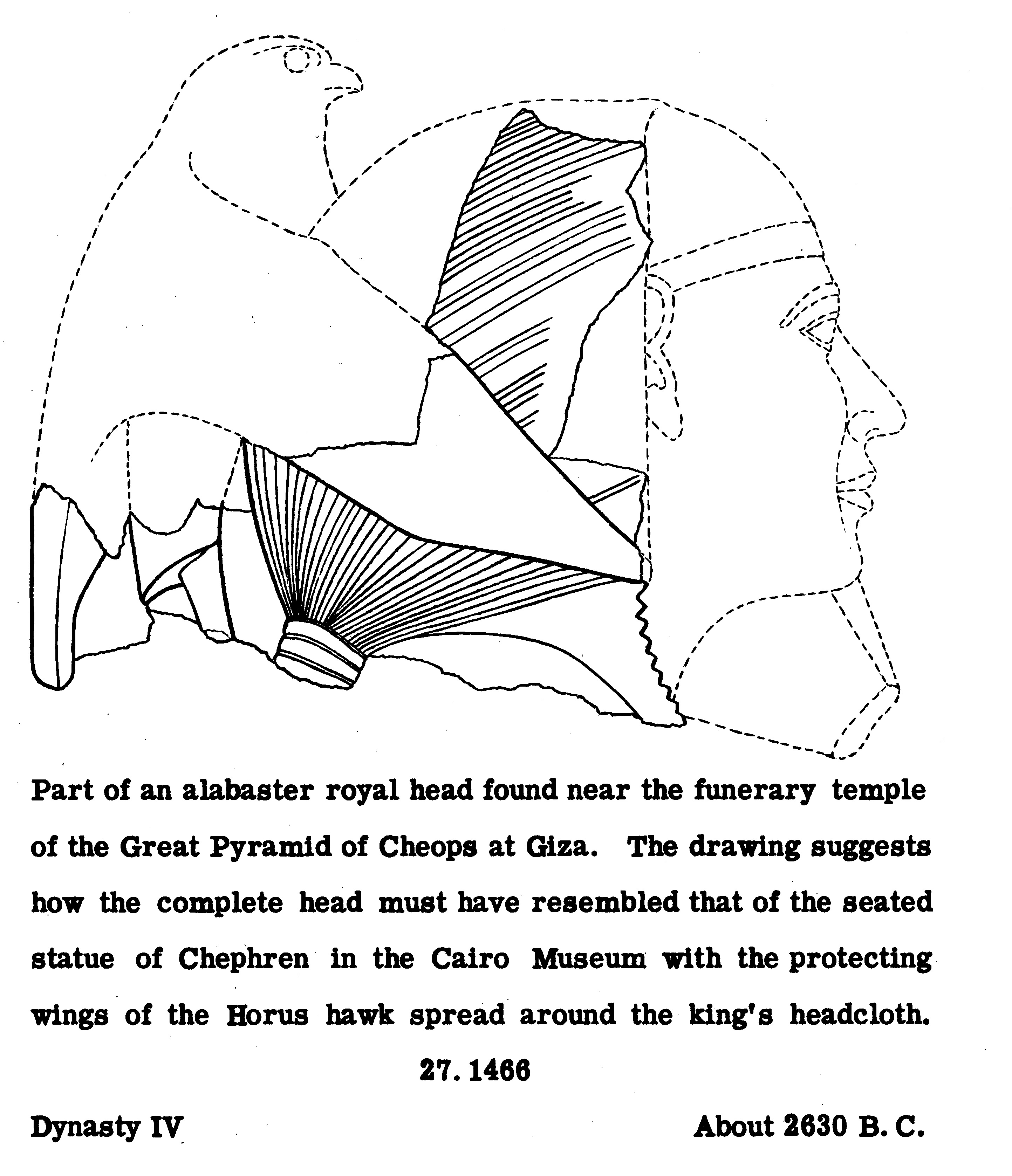 Drawings: G 7102: royal statue head, reconstruction