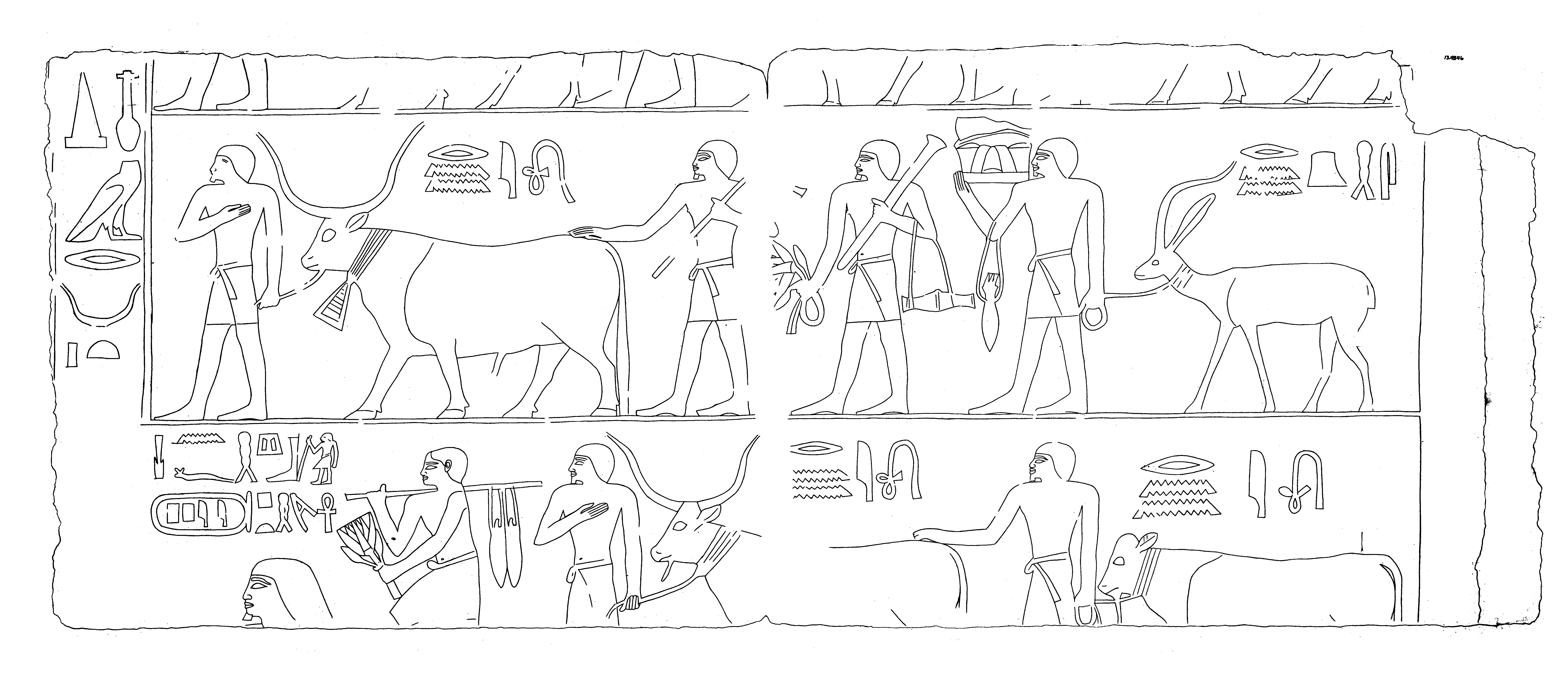 Drawings: G 2382 (originally G 2381): relief, procession scene