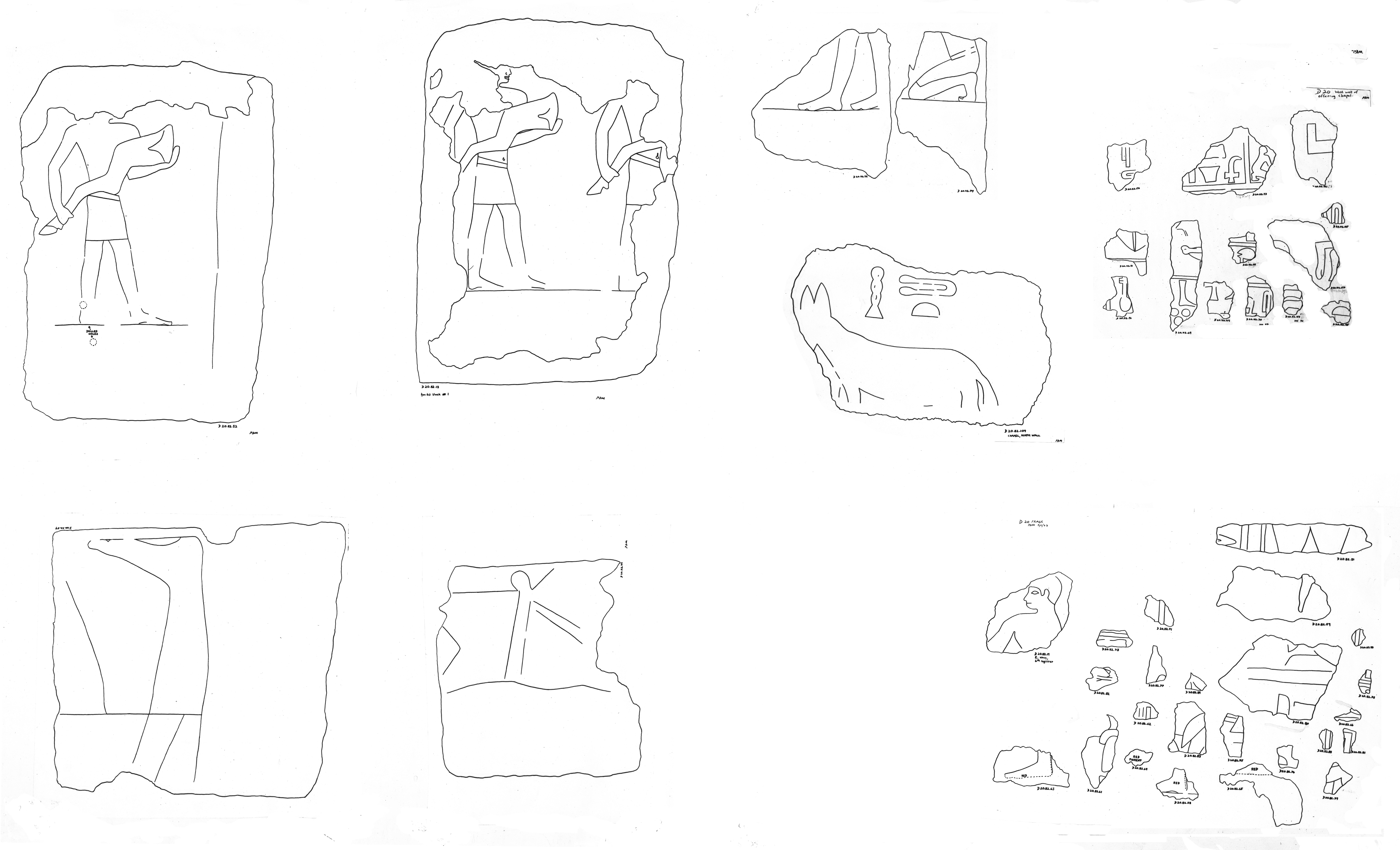 Drawings: D 20: fragments of relief