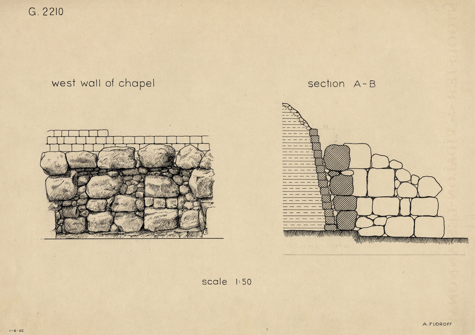 Maps and plans: G 2210, Section and elevation of W wall