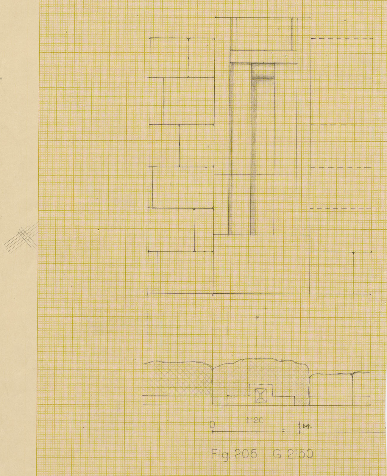 Maps and plans: G 2150, Plan and section of E face, N niche