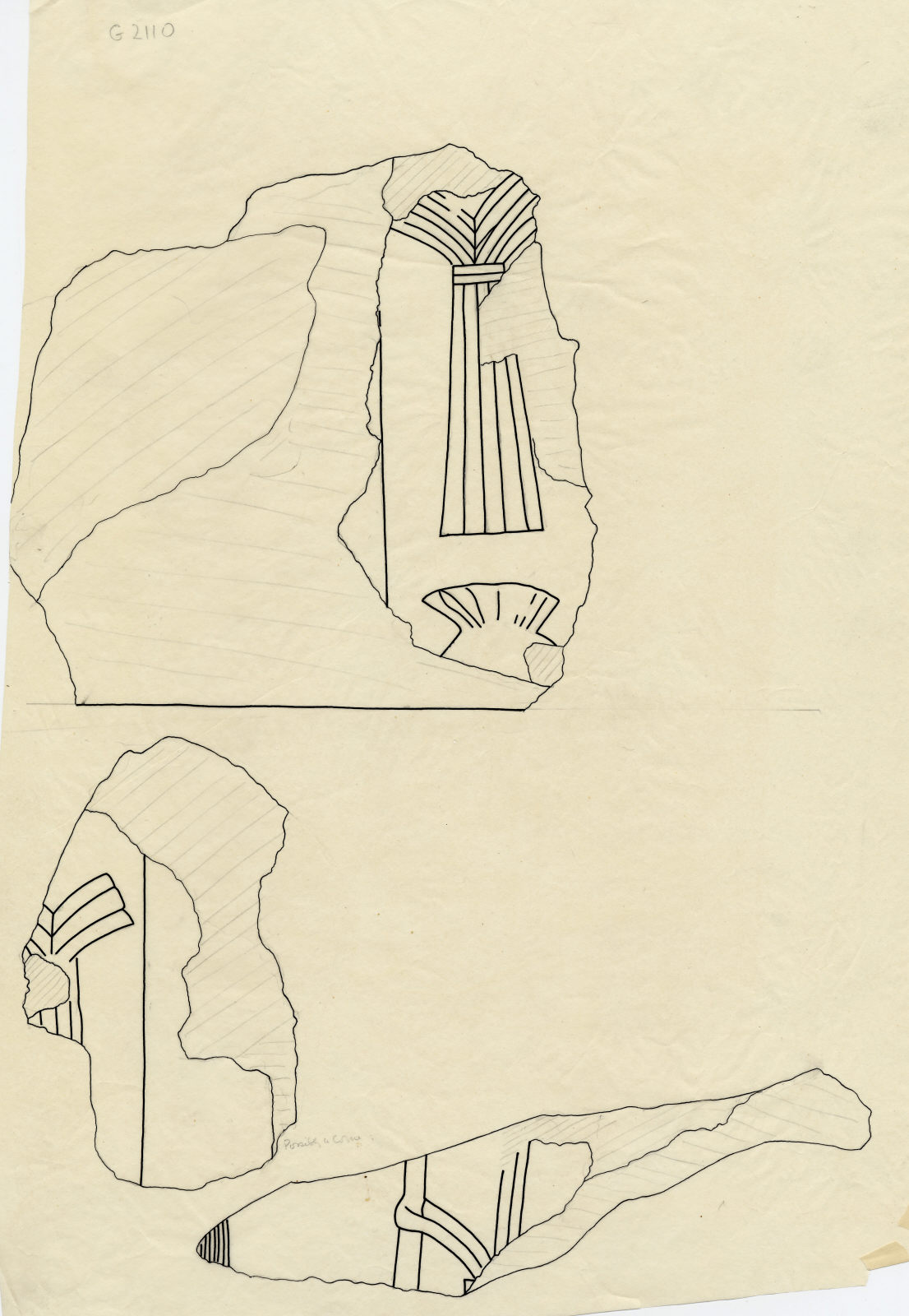 Drawings: G 2110: relief fragments (unregistered) from W wall