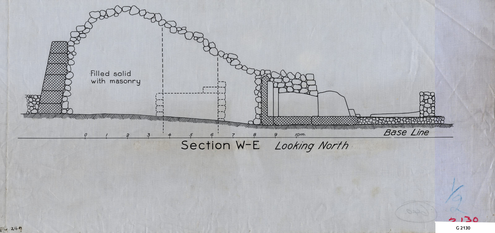 Maps and plans: G 2130, Section W-E looking N