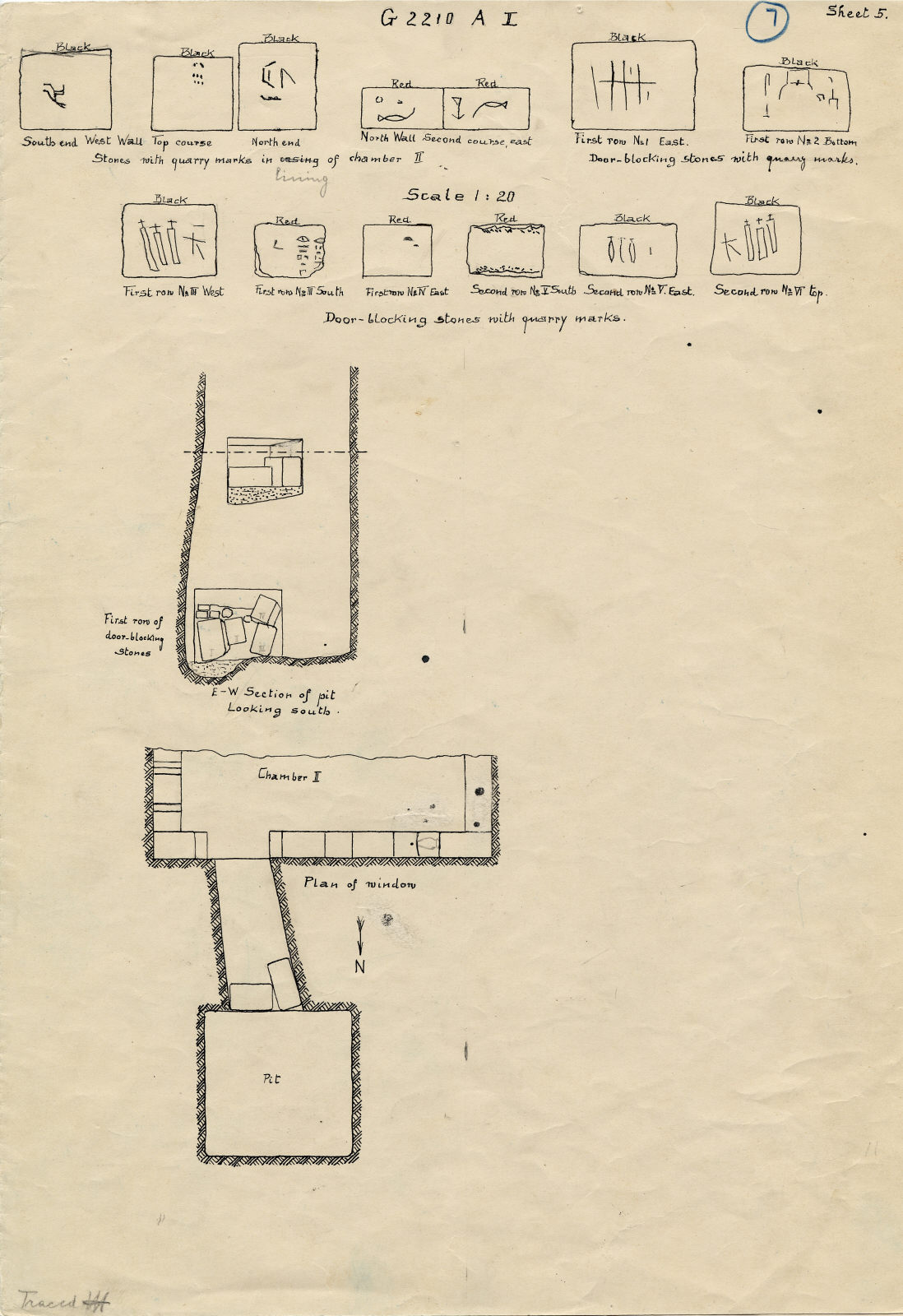 Maps and plans: G 2210, Shaft A and  blocking stones with quarry marks