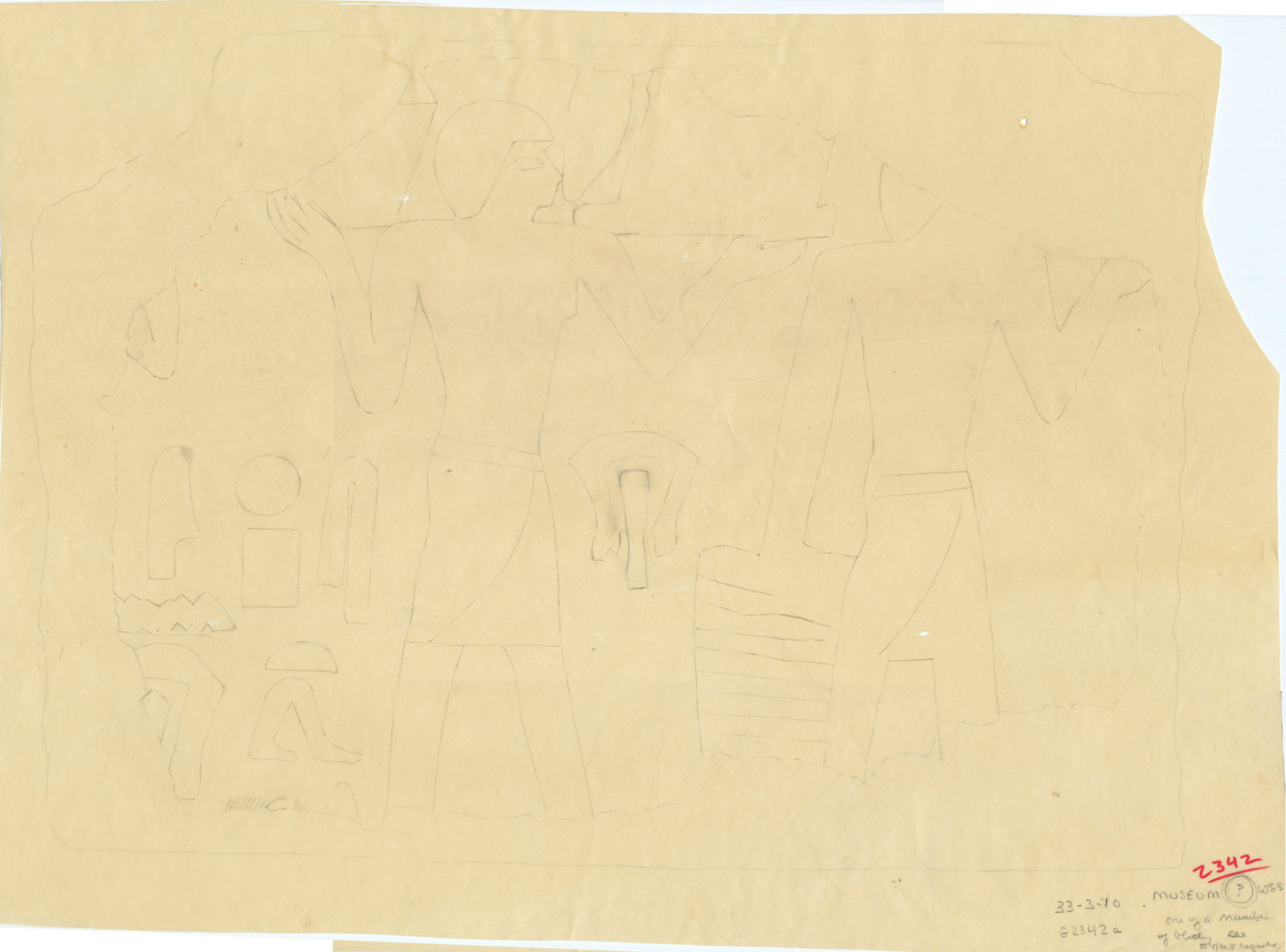 Drawings: G 2342 (= G 5520), Shaft A: fragment of relief