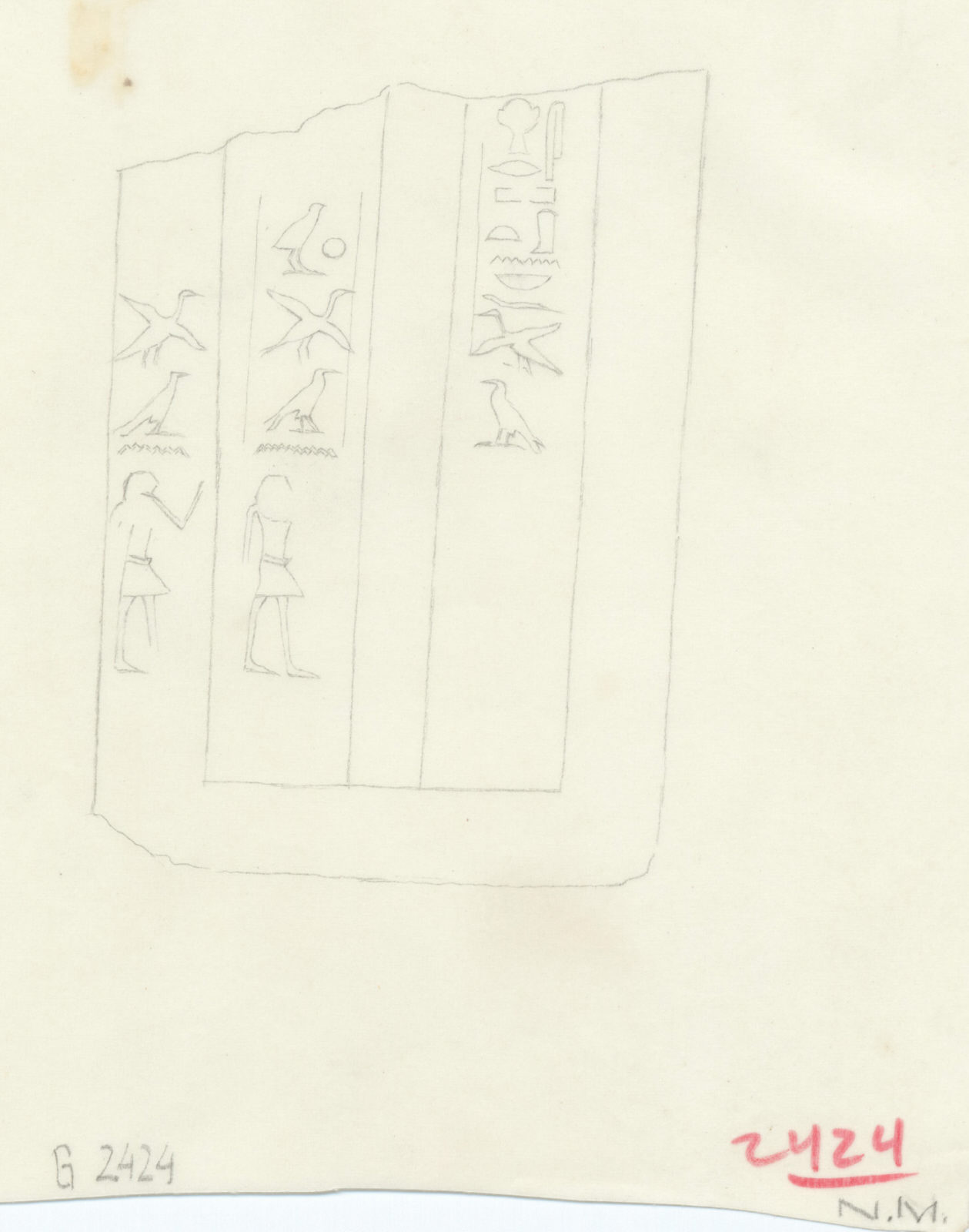 Drawings: G 2422: inscription from false door of Pan