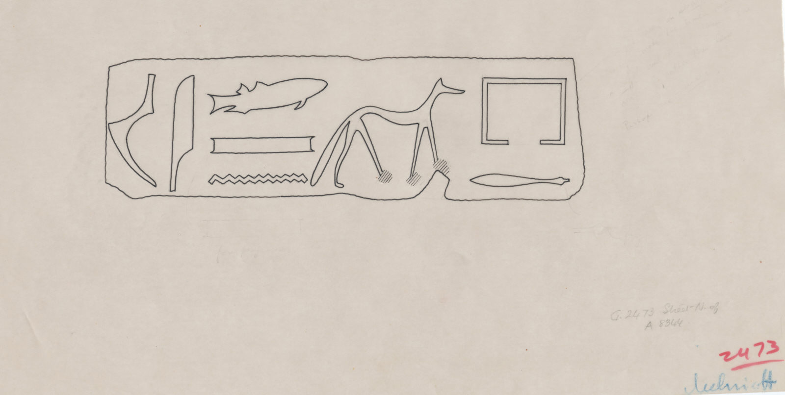 Drawings: G 2473 (N of): relief fragment from street
