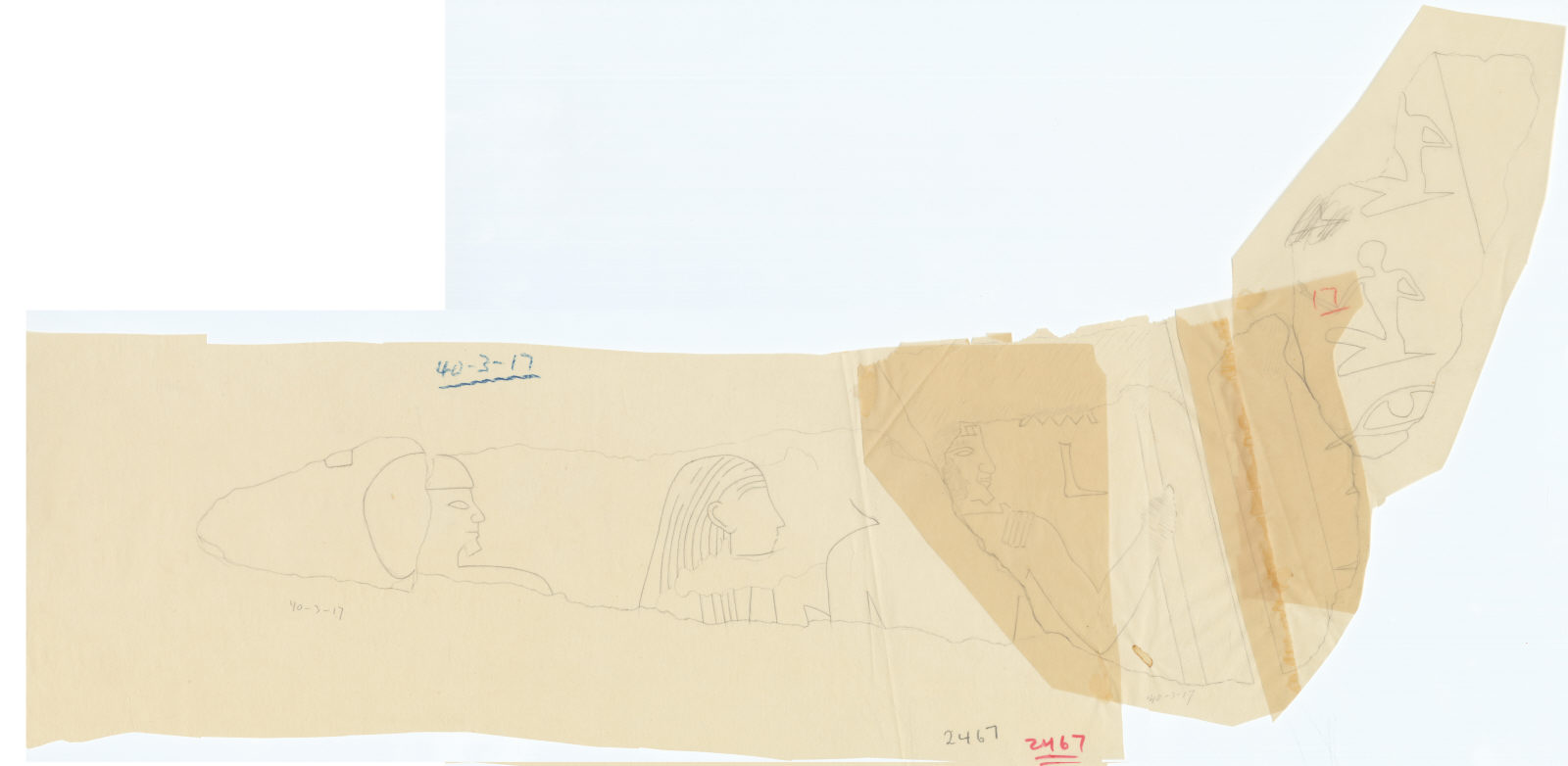 Drawings: G 2467 (E of): relief fragments from debris
