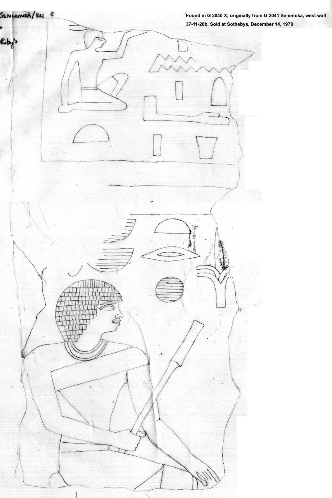 Drawings: G 2040, found in shaft X; originally from G 2041: relief from W wall