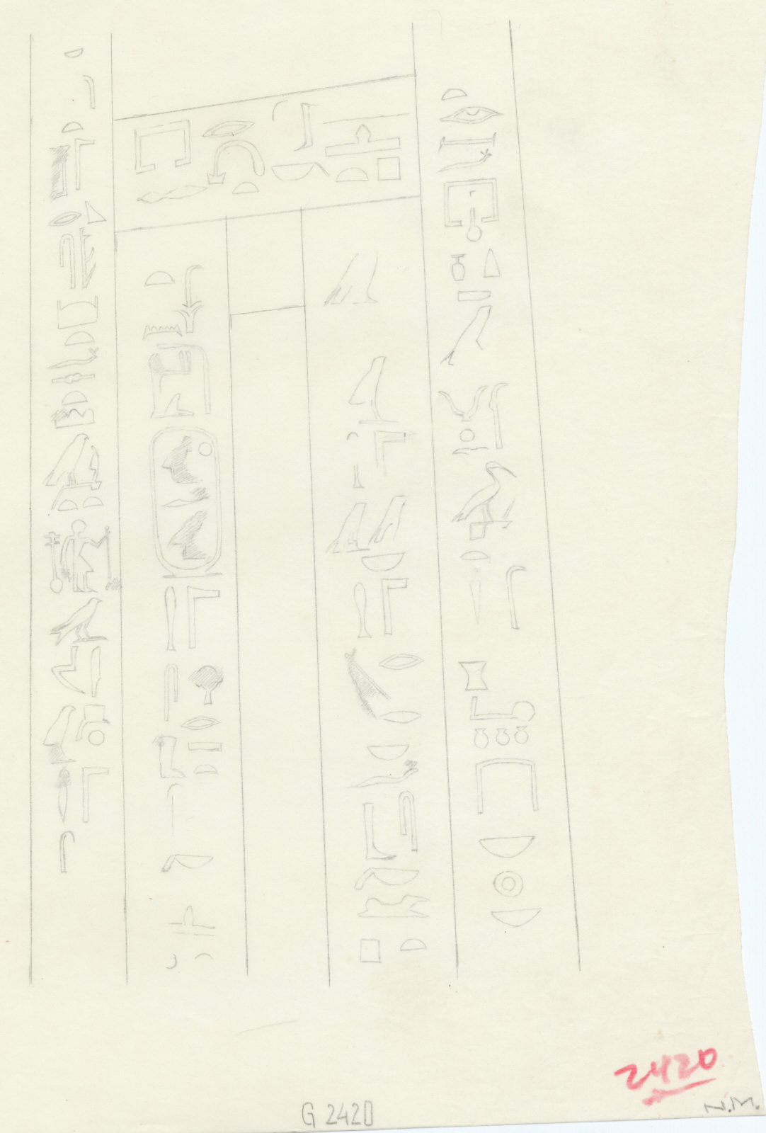 Drawings: G 2420: relief from false door (central) of Sobekhetep