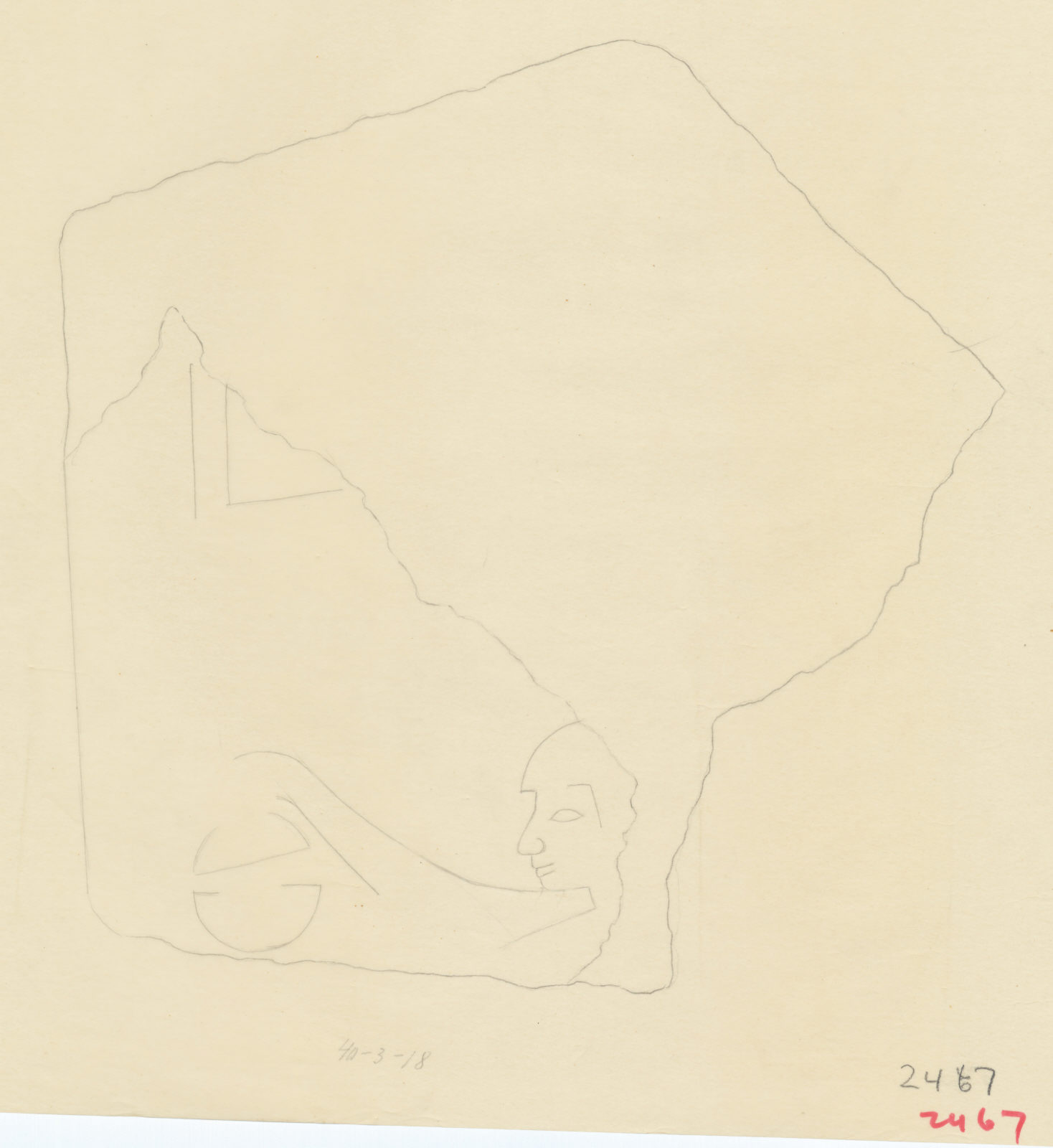Drawings: G 2467 (E of): relief fragment from debris