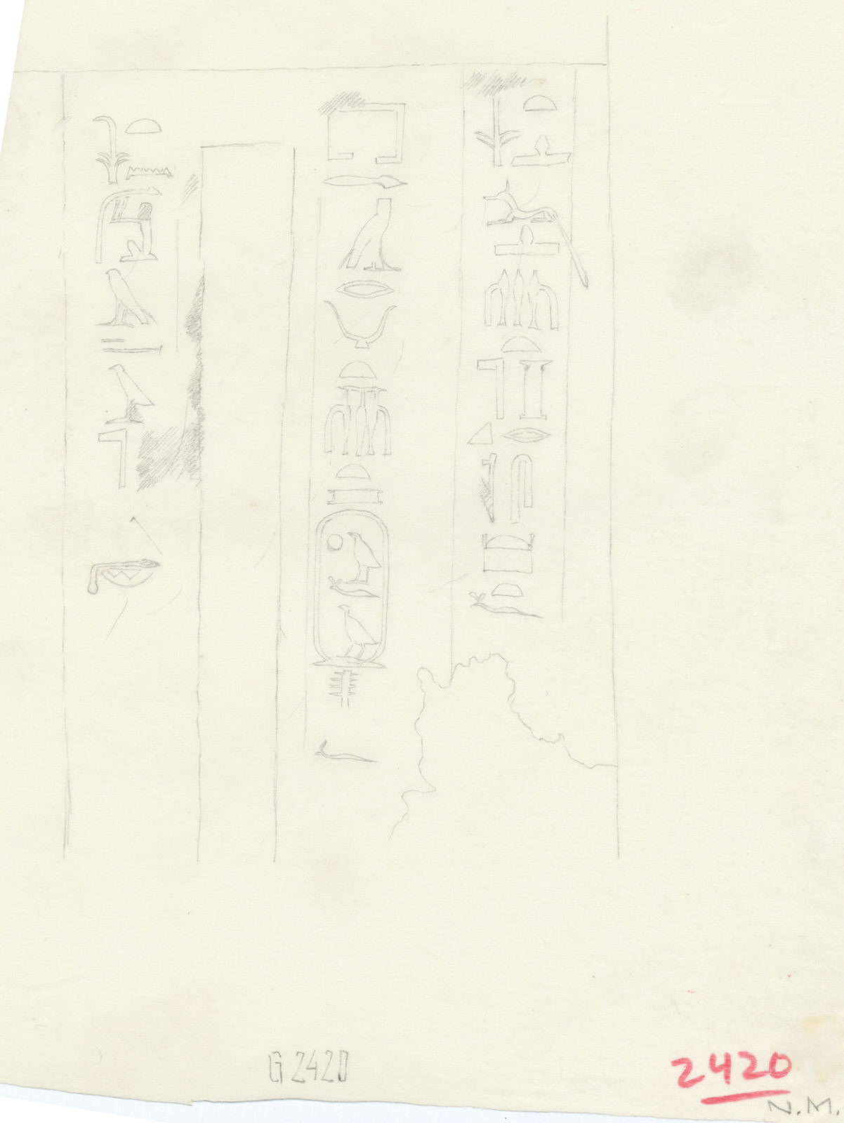Drawings: G 2420: relief from false door of Khufudjedef