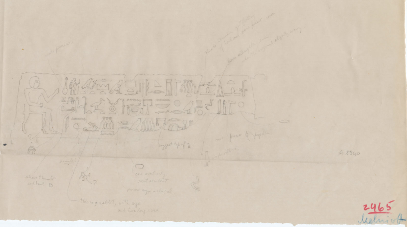 Drawings: G 2465: relief from lintel of Wenui