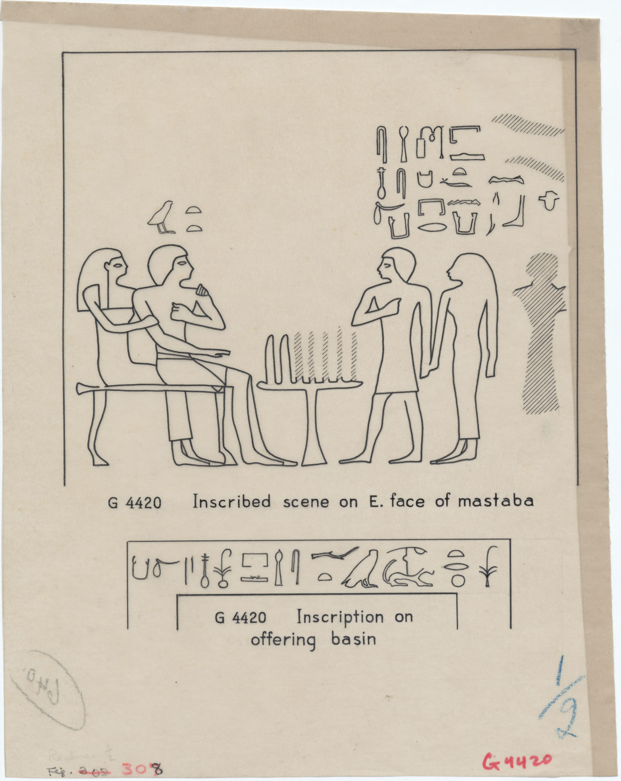 Drawings: relief from 4420 and inscription from offering basin from G 4422