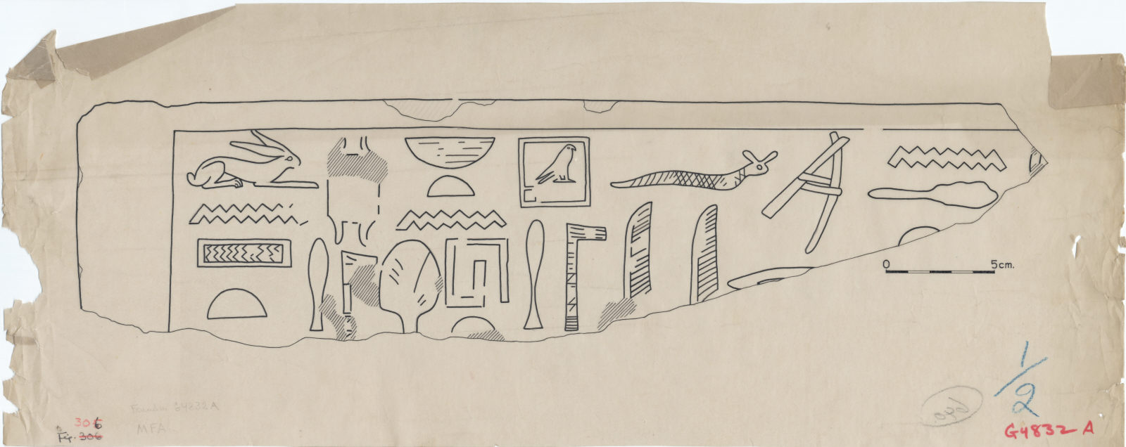 Drawings: G 4832, Shaft A (originally G 4840): fragment of stela