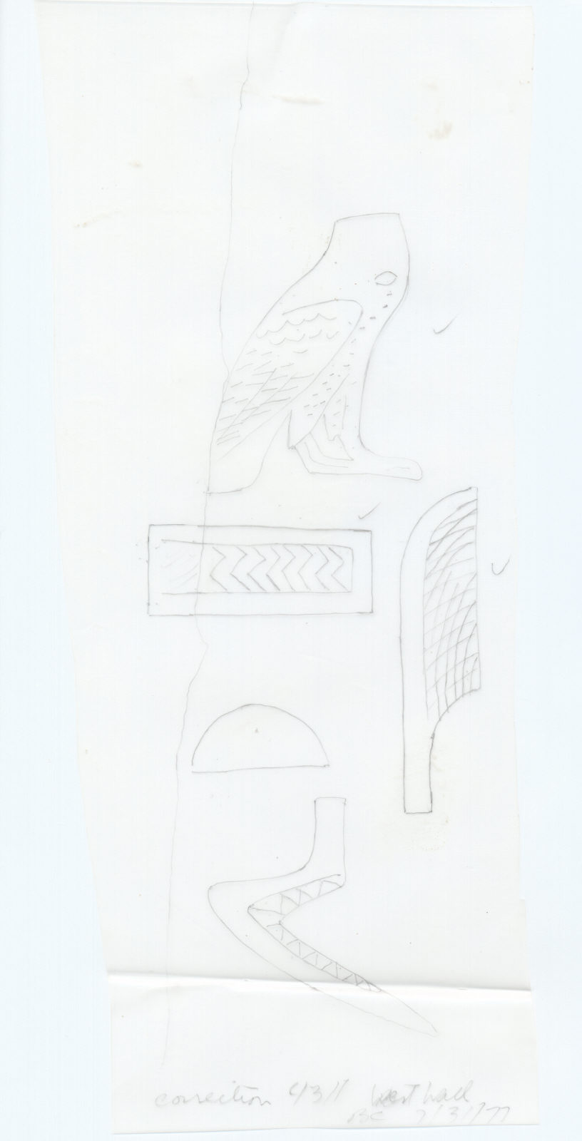 Drawings: G 4311: inscription from W wall, N false door (detail)