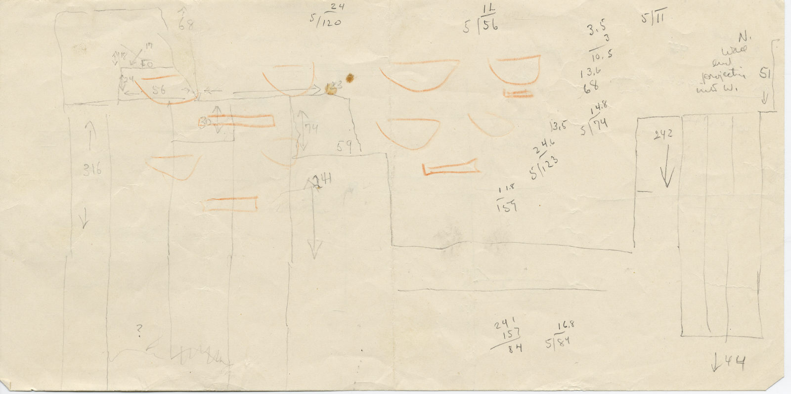 Maps and plans: Sketch elevation of G 5110, W wall