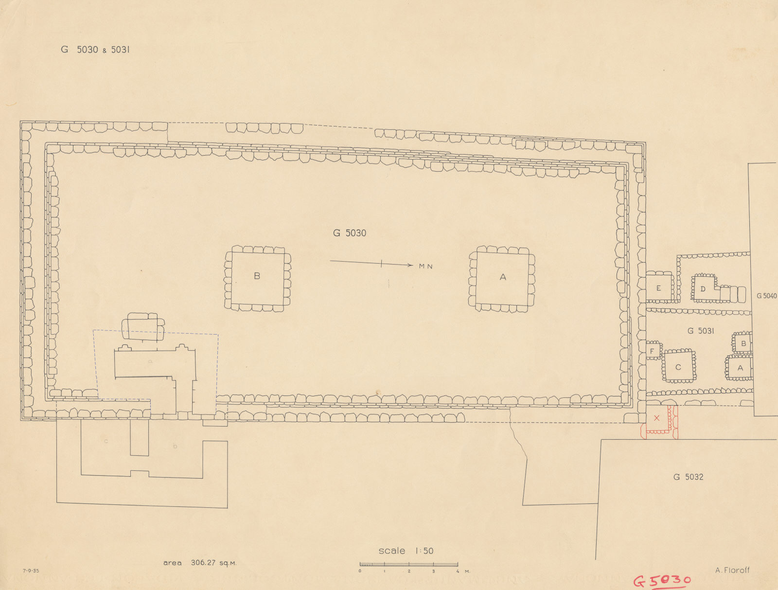 Maps and plans: Plan of G 5030, with position of G 5031, G 5032, G 5040