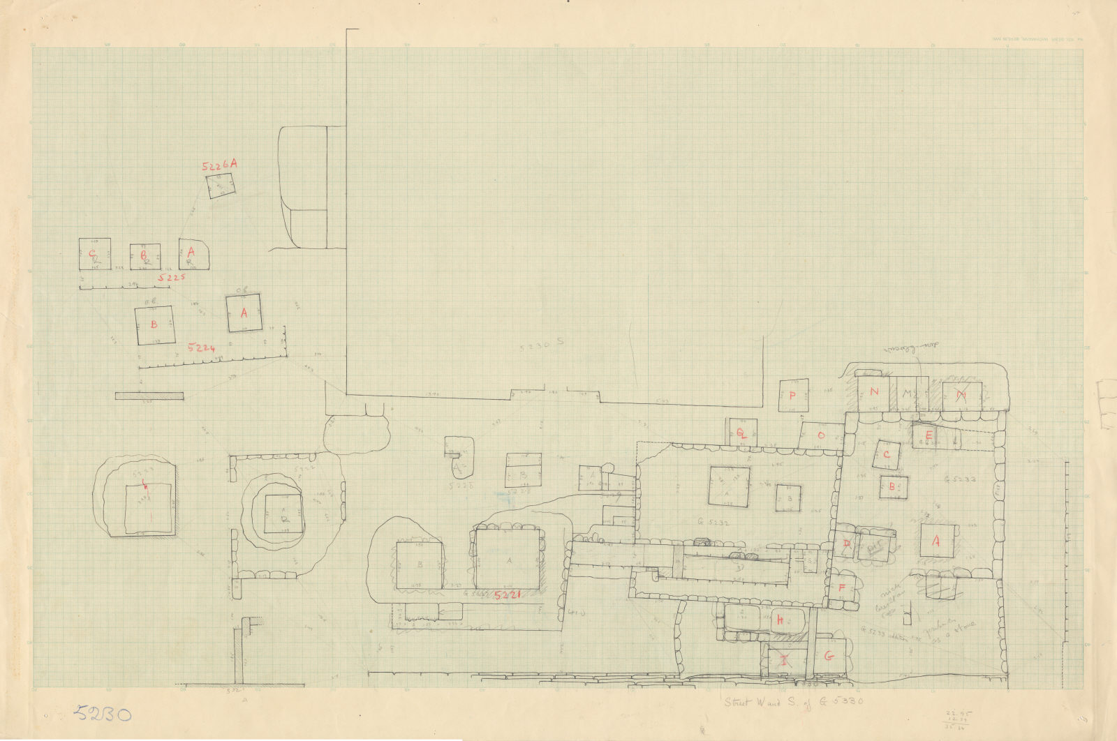Maps and plans: Plan of Cemetery G 5000, with positions of G 5221, G 5222, G 5223, G 5224, G 5225, G 5226, G 5228, G 5229, G 5232, G 5233