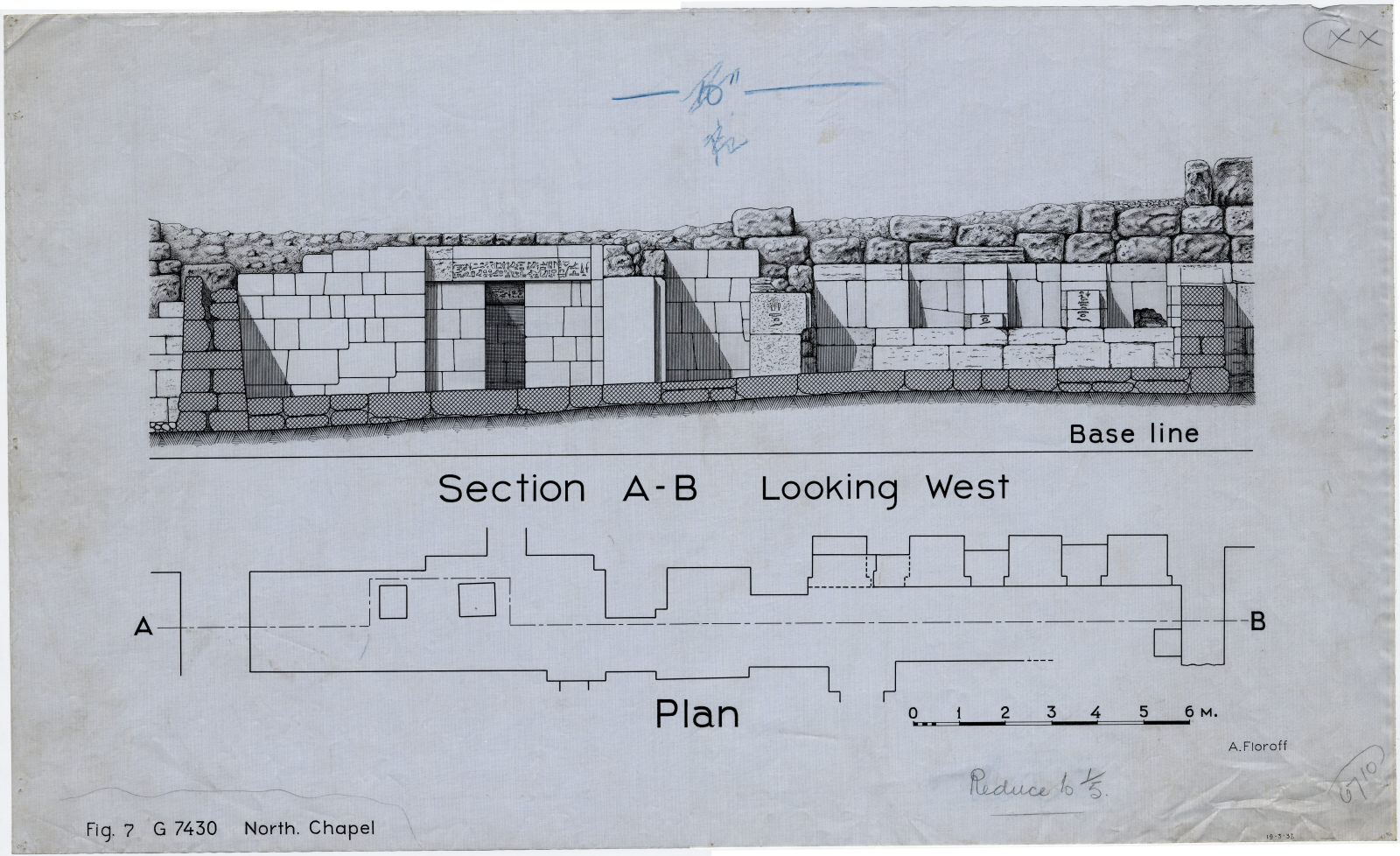 Maps and plans: G 7430, Plan and section of north chapel