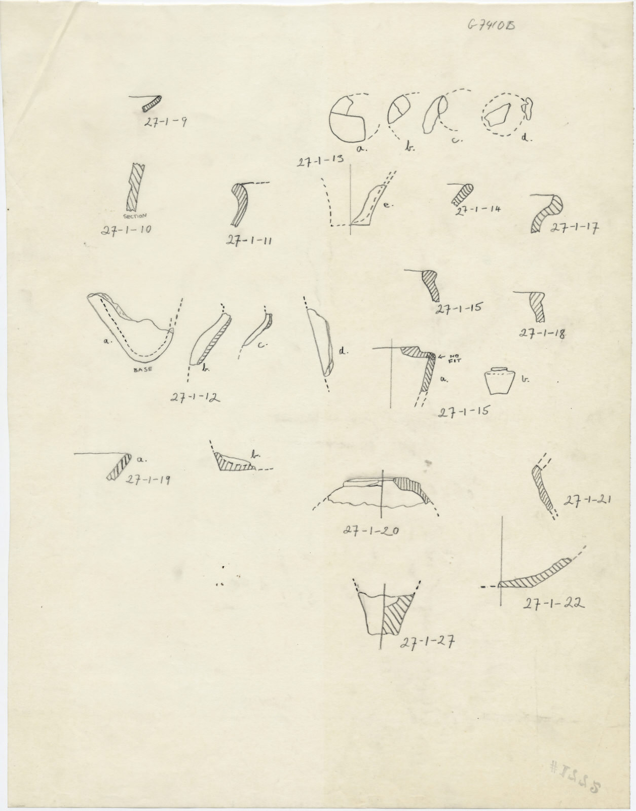 Drawings: G 7410, Shaft B: pottery fragments