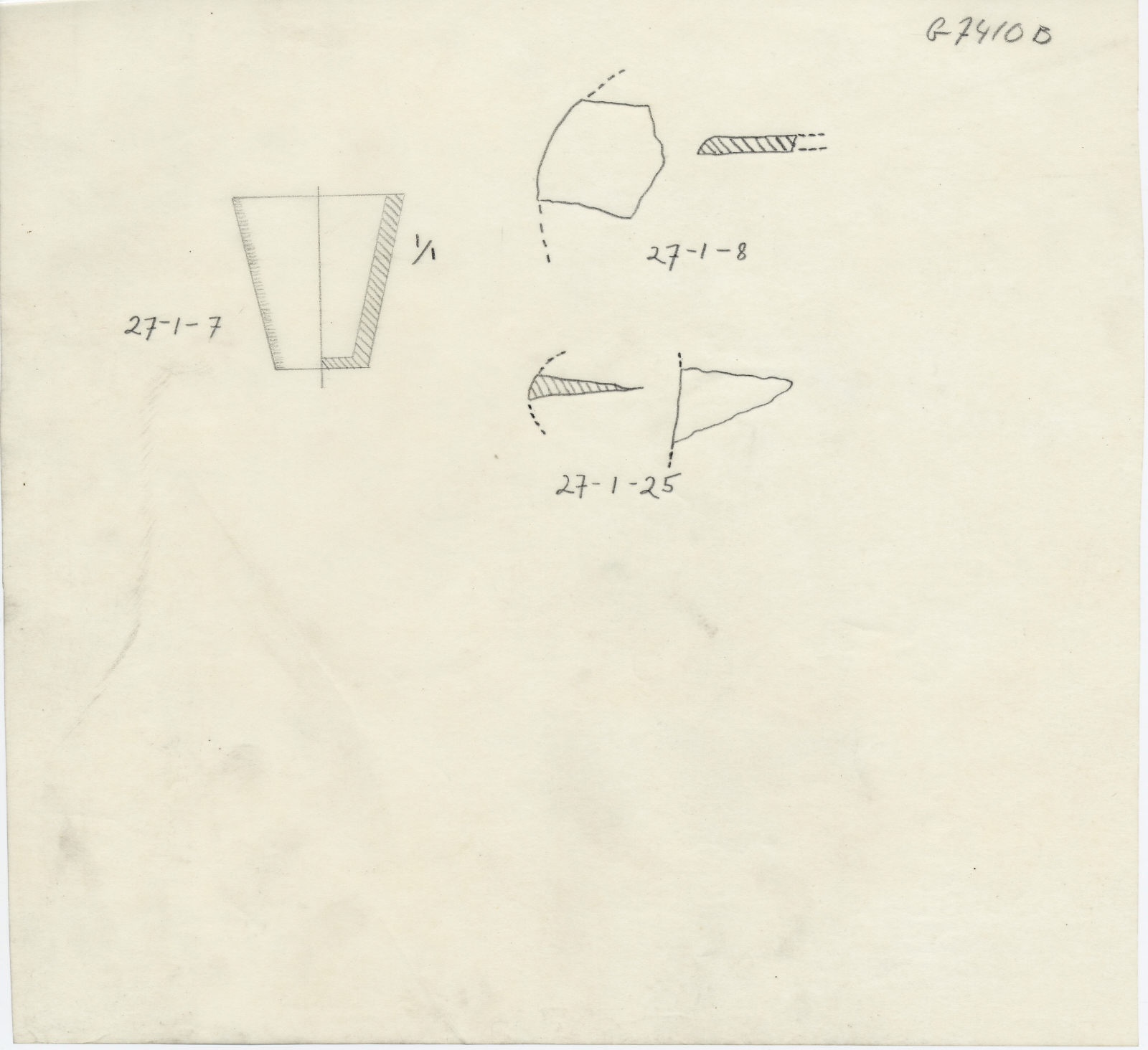 Drawings: G 7410-7420: G 7410, Shaft B: fragments of alabaster objects