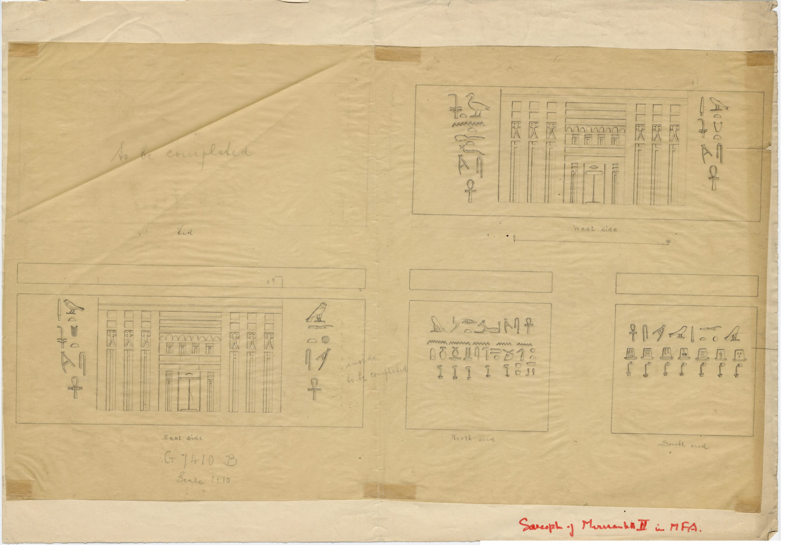 Drawings: G 7410-7420: G 7410, Shaft B: sarcophagus