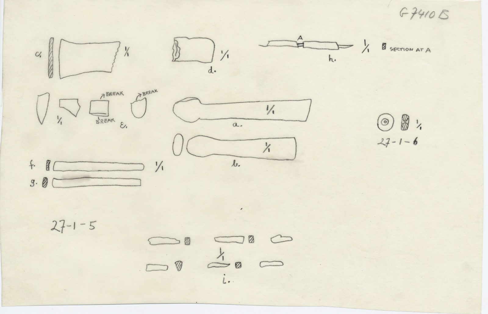Drawings: G 7410-7420: G 7410, Shaft B: objects