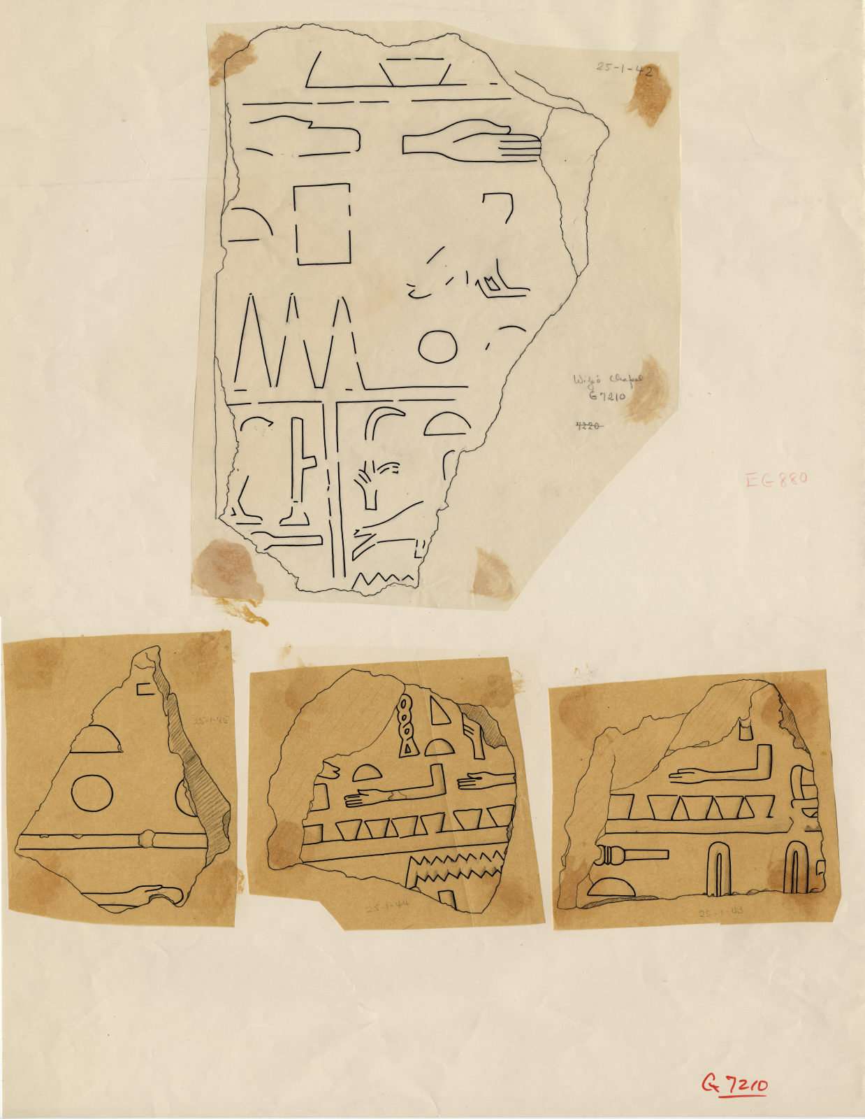 Drawings: G 7210-7220: G 7210: fragments of relief