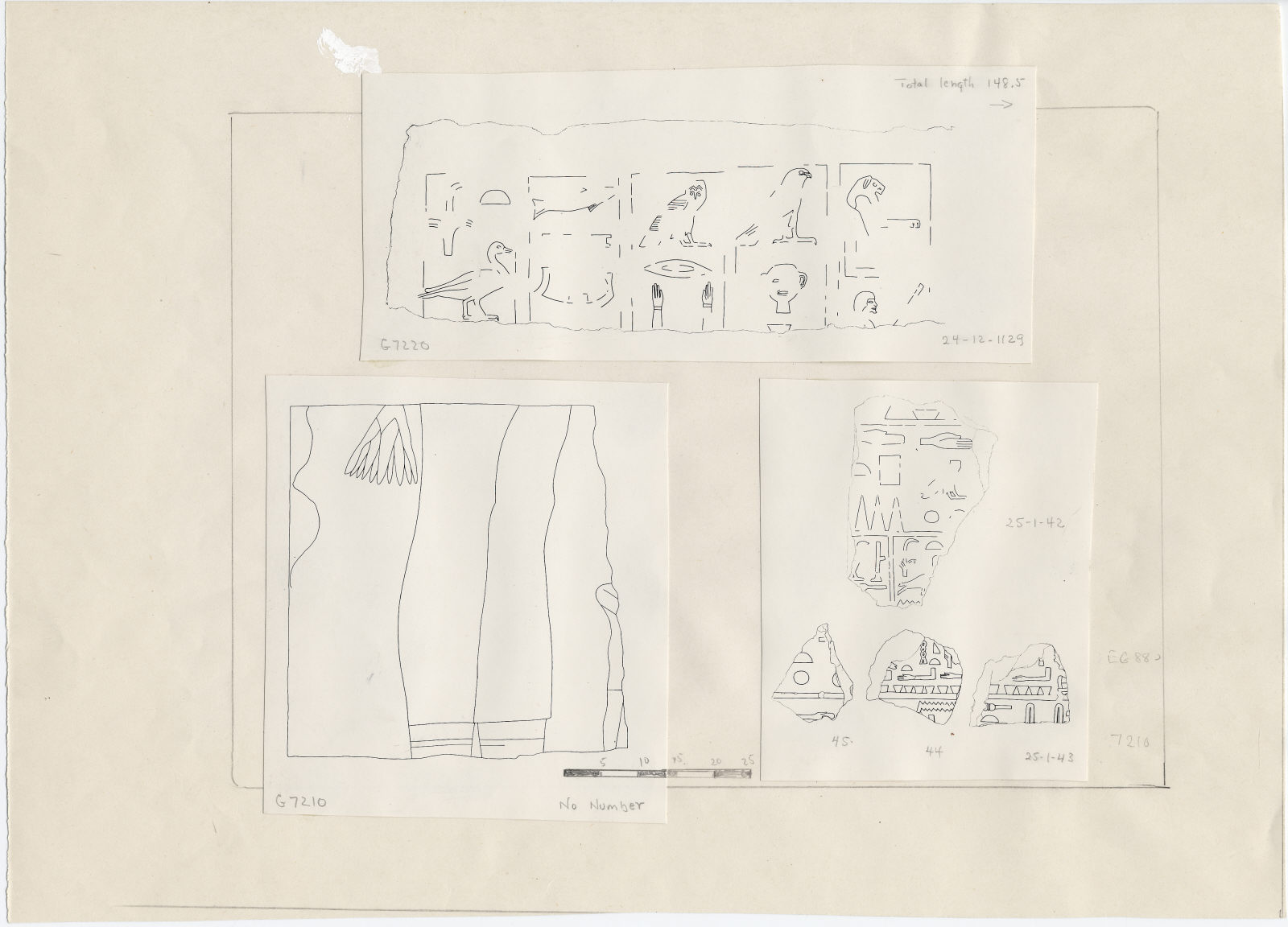 Drawings: G 7210-7220: fragments of relief