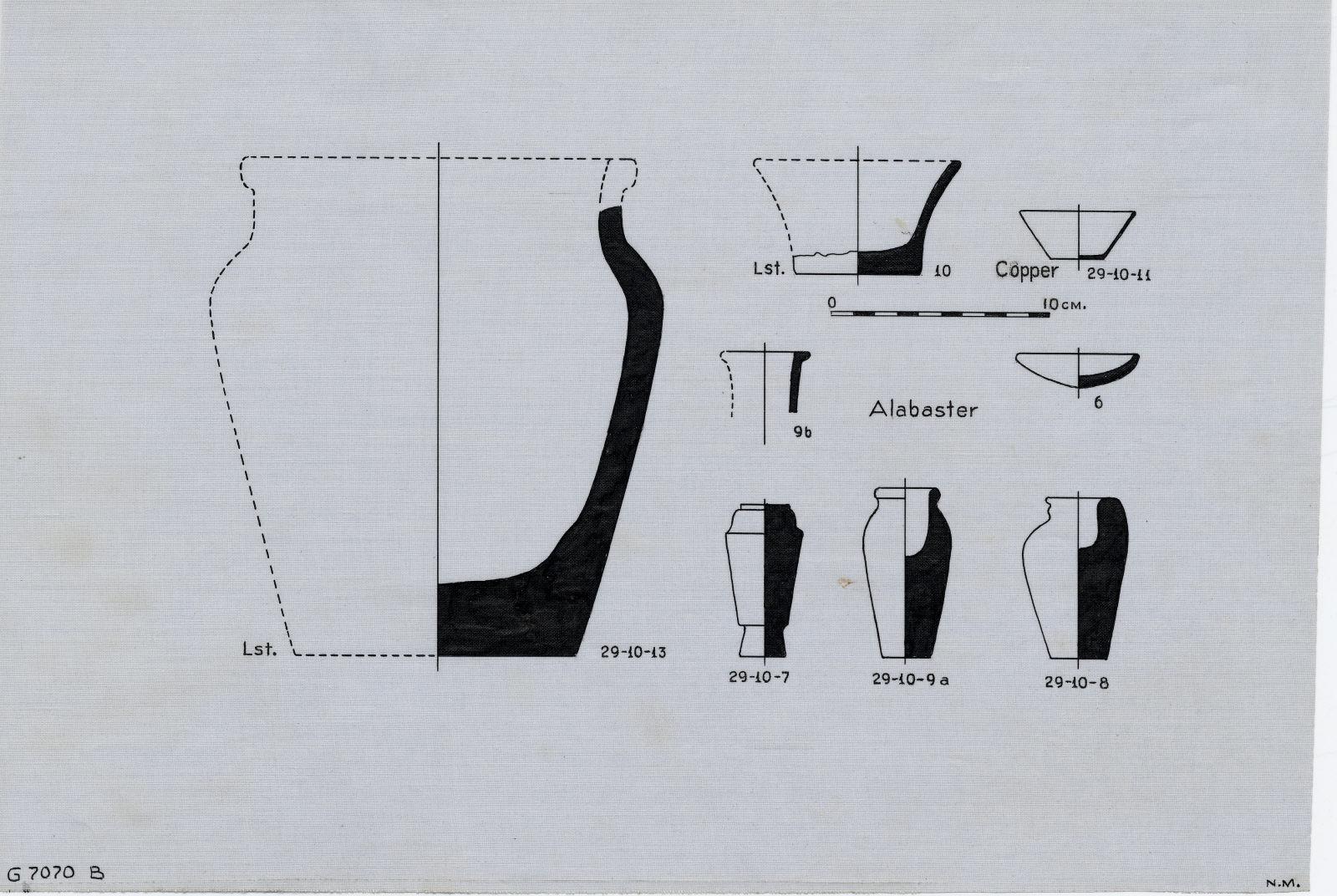 Drawings: G 7070, Shaft B: fragments of vessels