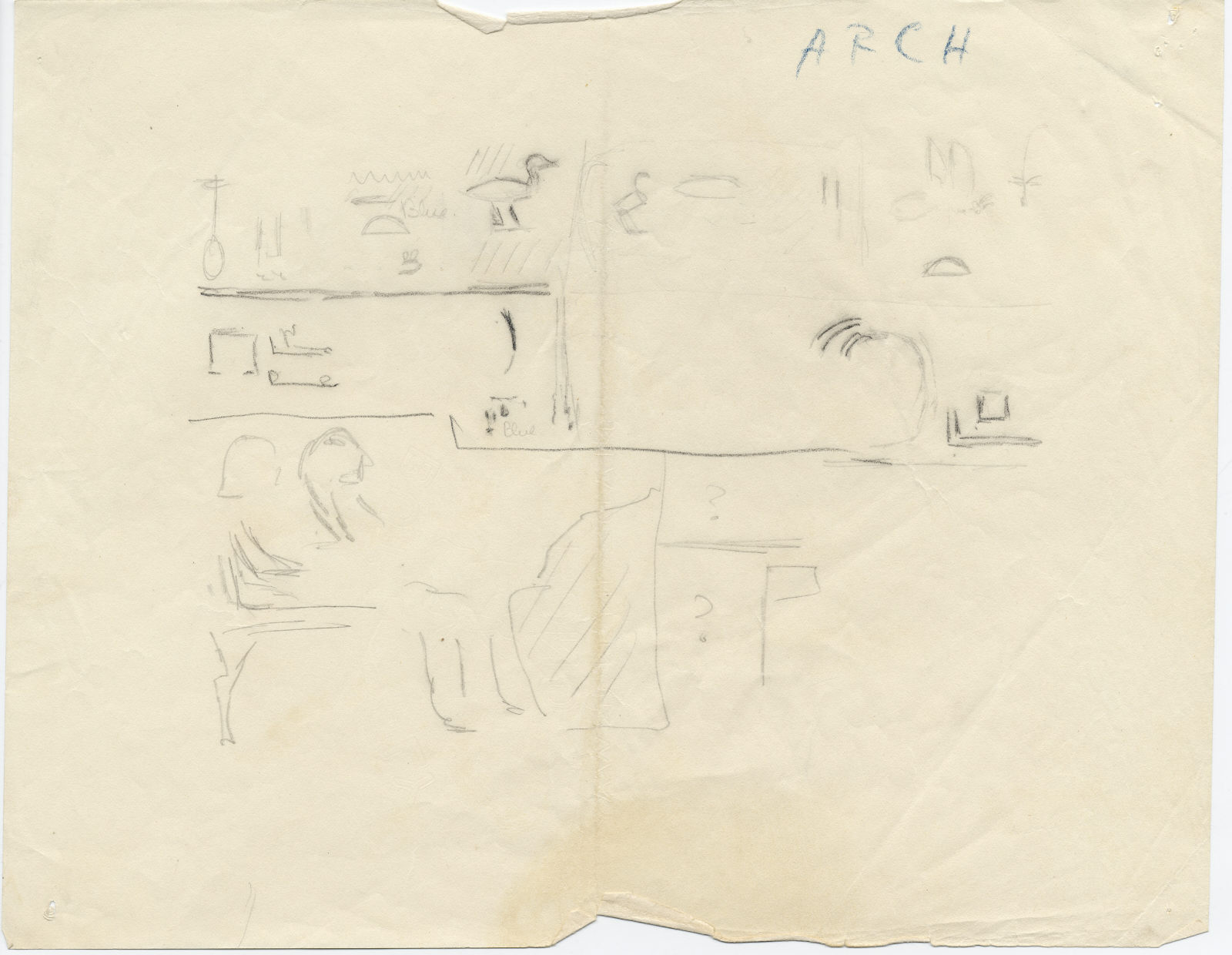 Drawings: G 7060: sketch and notes regarding W wall, S end, architrave over false door