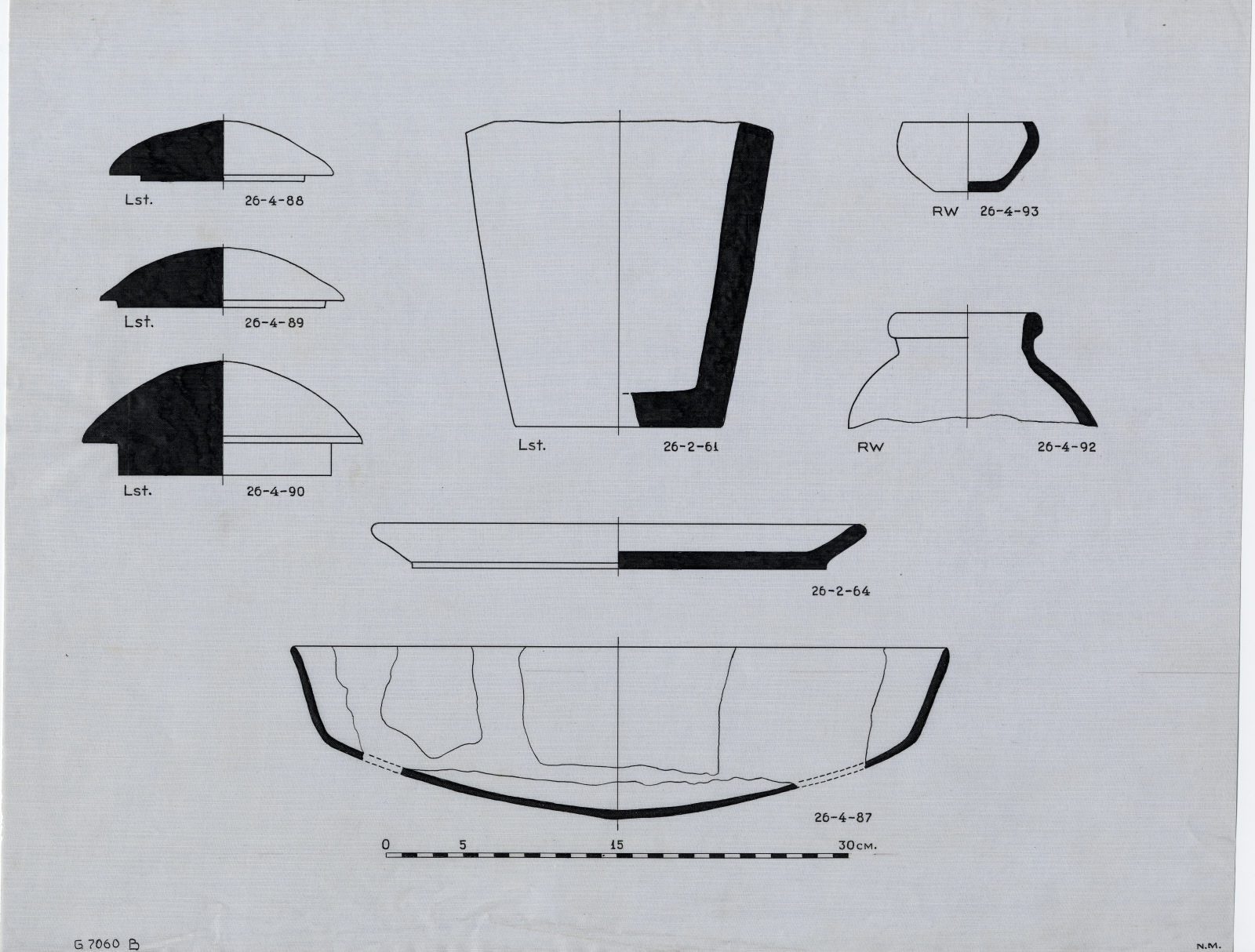 Drawings: G 7060, Shaft B: vessels and lids