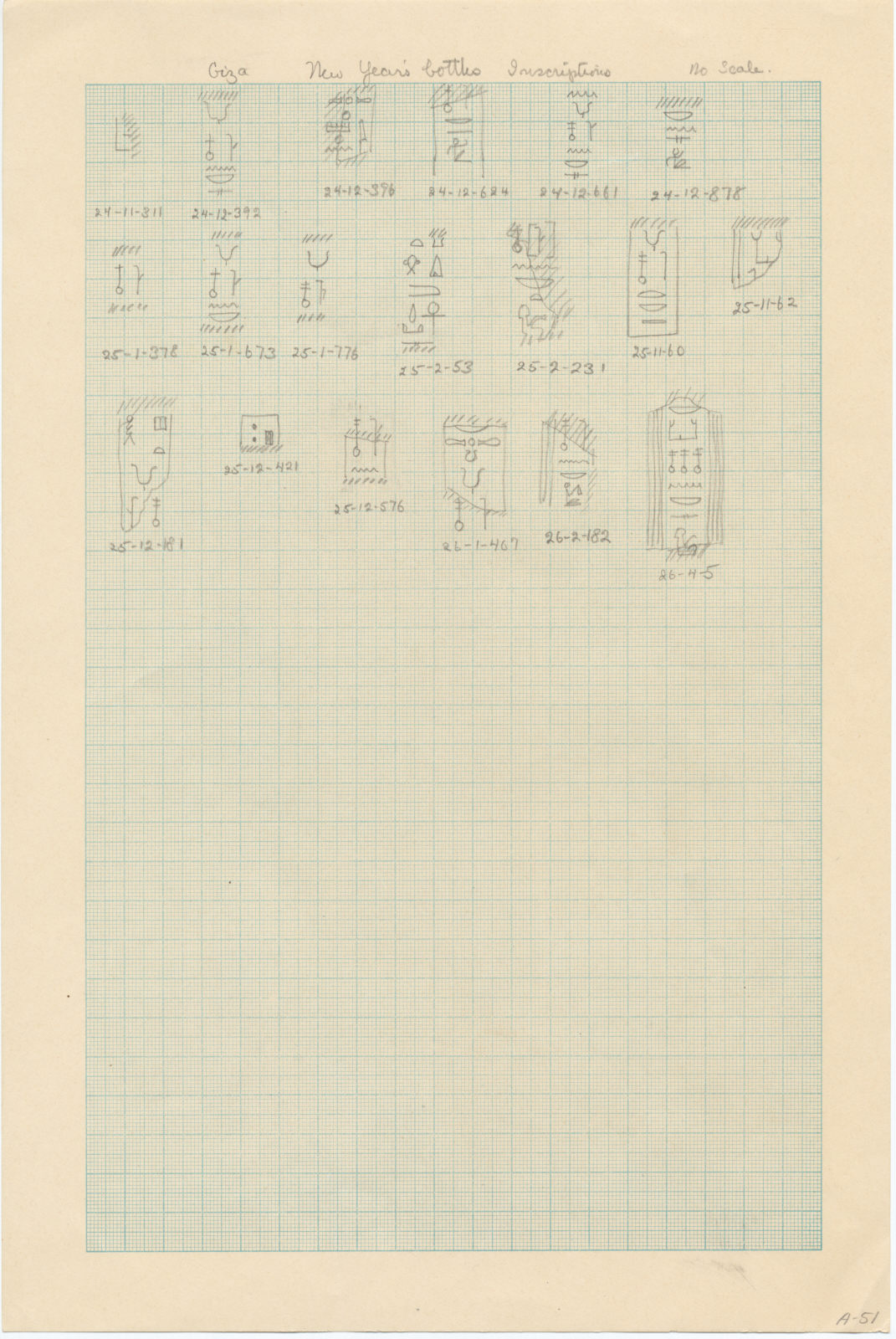 Drawings: inscriptions from fragments of New Year's Bottles form Avenue G 2, Avenue G 3, Street G 7100, Street G 7200, Street G 7300, Street G 7400, G 7110-7120, G 7150, G 7152, G 7210-7220, G 7230-7240, G 7310-7320, G 7410-7420, G 7430-7440, G 7510, G 7631, G I-b
