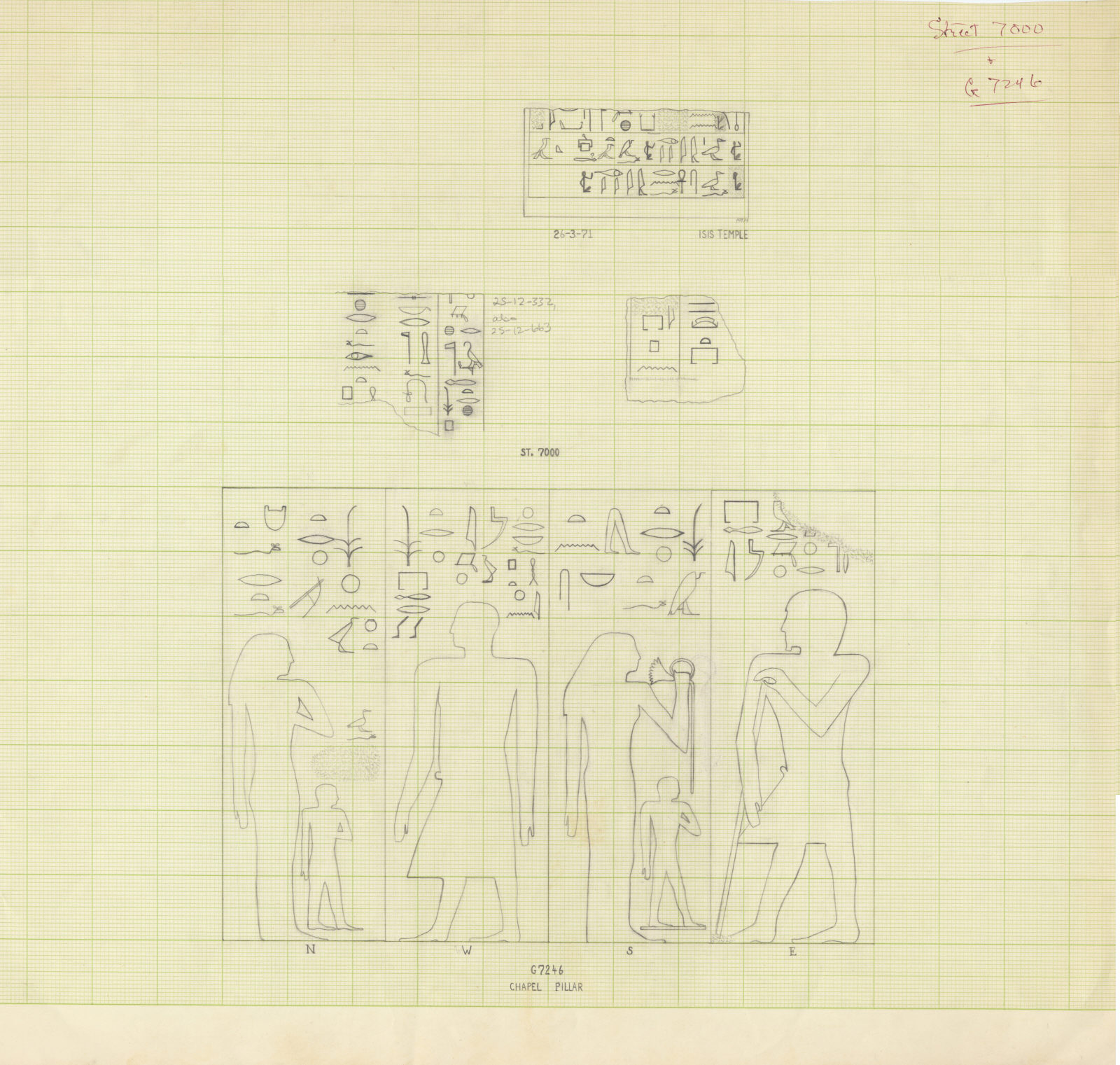Drawings: fragments of relief from Avenue G 3, Street G 7000, G 7244+7246, Isis Temple