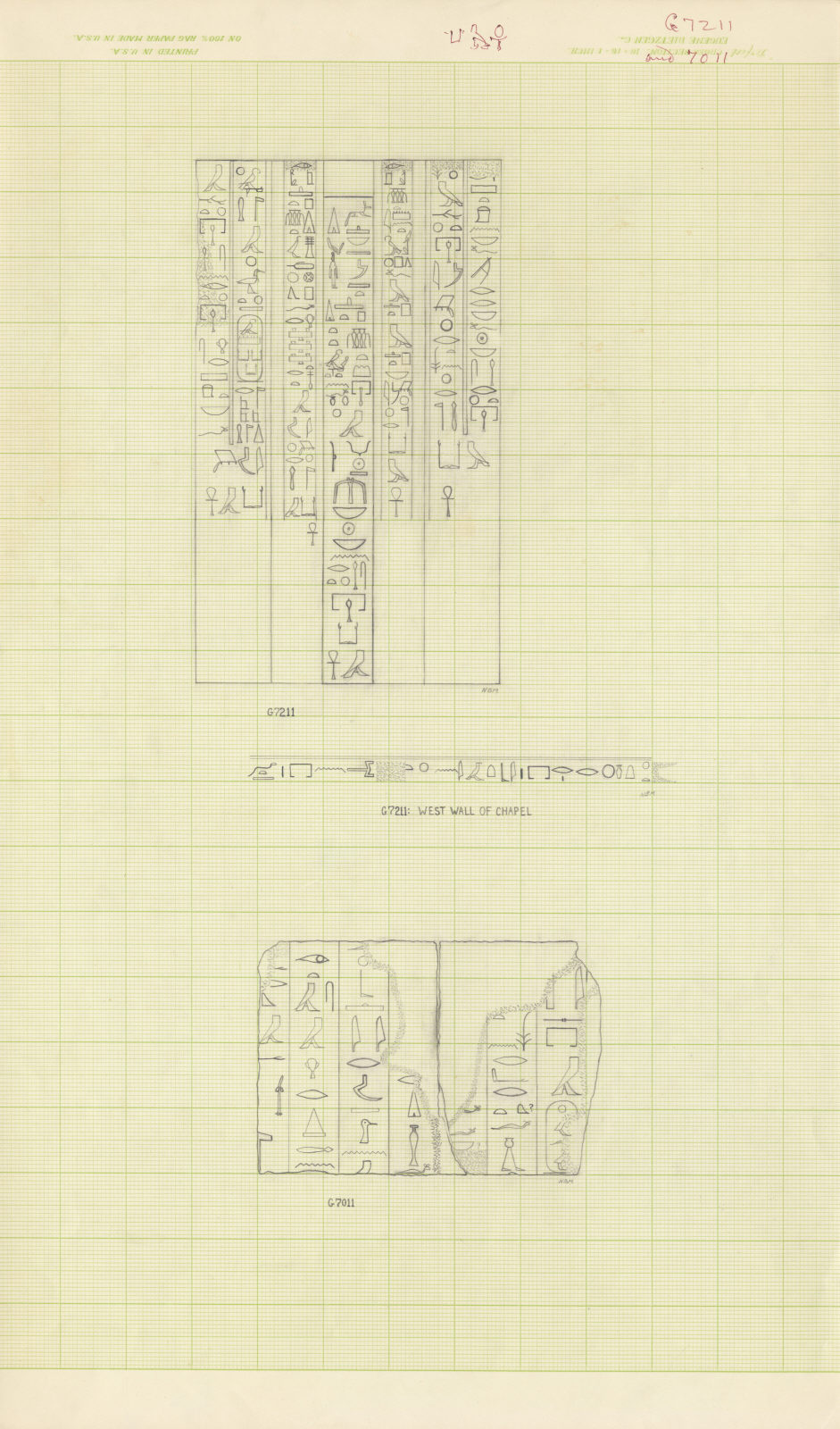 Drawings: relief from G 7011, G 7211, Isis Temple