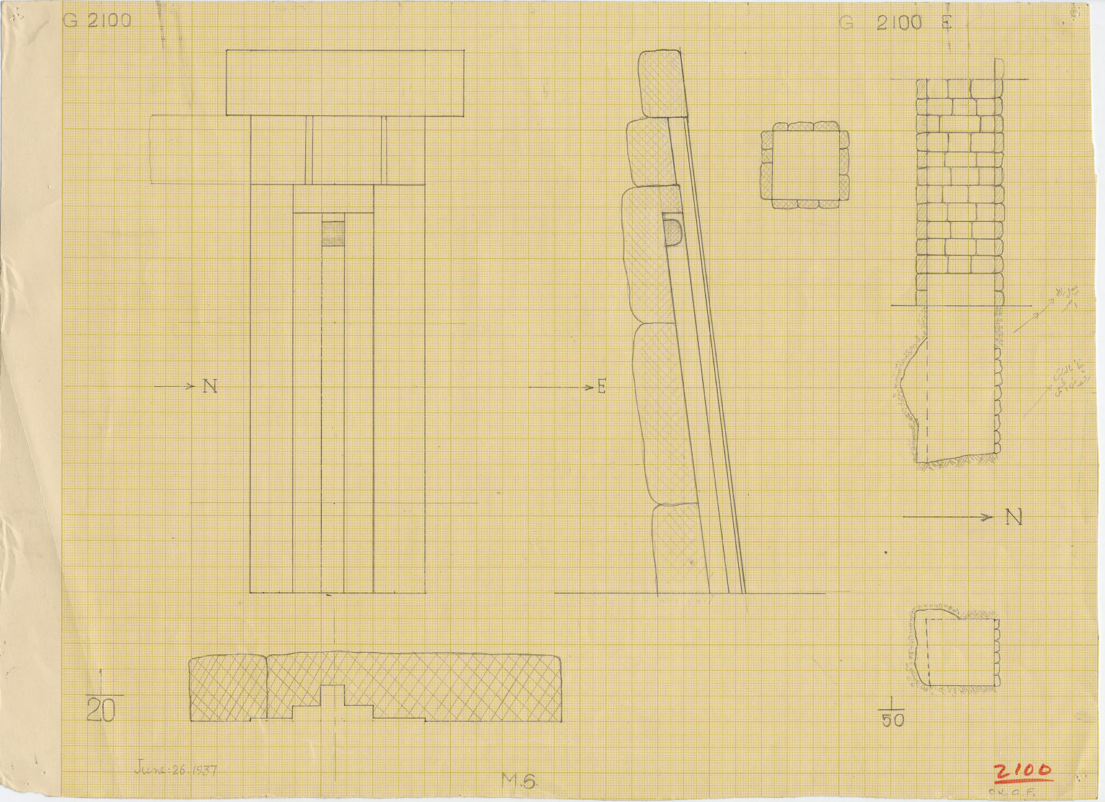Maps and plans: G 2100, Shaft E and false door