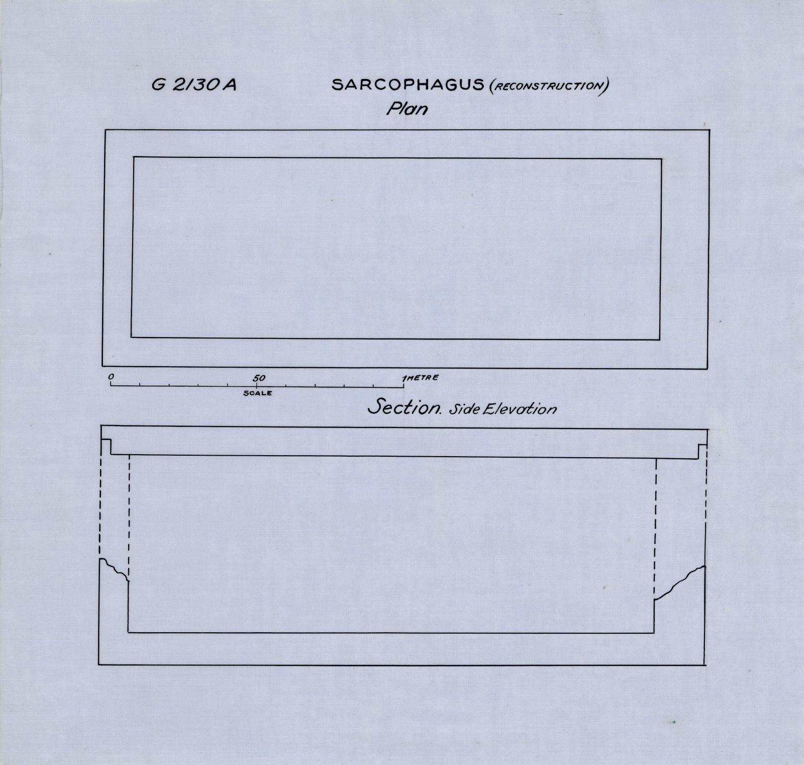 Drawings: G 2130, Shaft A: sarcophagus